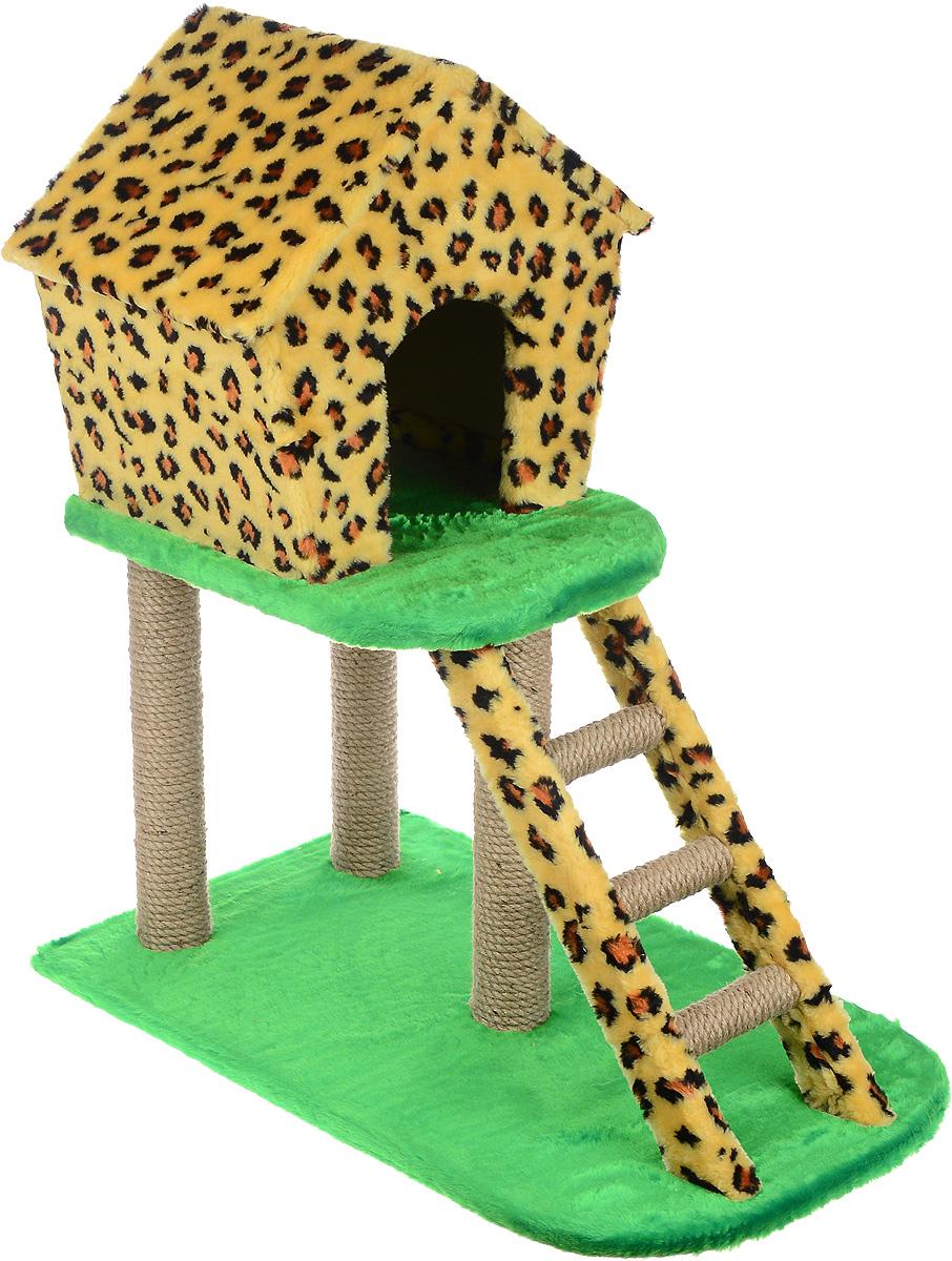 Домик-когтеточка ЗооМарк, с лестницей, цвет: леопардовый, зеленый, 75 х 45 х 85 см118Домик-когтеточка ЗооМарк выполнен из высококачественного дерева и искусственного меха. Изделие предназначено для кошек. Ваш домашний питомец будет с удовольствием точить когти о специальный столбики, изготовленные из джута. А отдохнуть он сможет в домике, расположенном на втором этаже.Общий размер изделия: 75 х 45 х 85 см.Размер домика: 45 х 33 х 41 см.