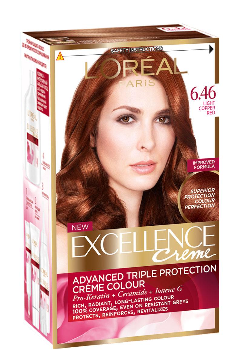 LOreal Paris Стойкая крем-краска для волос Excellence, оттенок 6.46, Благородный красныйA0693328Крем-краска для волос Экселанс защищает волосы до, во время и после окрашивания. Уникальная формула краскииз Керамида, Про-Кератина и активного компонента Ионена G, которые обеспечивают 100%-ное окрашивание седины и способствуют длительному сохранению интенсивности цвета. Сыворотка, входящая в состав краски, оказывает лечебное действие, восстанавливая поврежденные волосы, а густая кремовая текстура краски обволакивает каждый волос, насыщая его интенсивным цветом. Специальный бальзам-уход делает волосы плотнее, укрепляет их, восстанавливая естественную эластичность и силу волос.В состав упаковки входит: защищающая сыворотка (12 мл), флакон-аппликатор с проявителем (72 мл), тюбик с красящим кремом (48 мл), флакон с бальзамом-уходом (60 мл), аппликатор-расческа, инструкция, пара перчаток.1. Укрепляет волосы 2. Защищает их 3. Придает волосам упругость 3. Насыщеннный стойкий сияющий цвет 4. Закрашивает до 100% седых волос