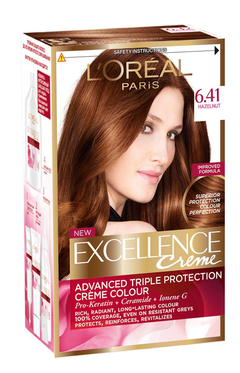 LOreal Paris Стойкая крем-краска для волос Excellence, оттенок 6.41, Элегантный медныйA4381228Крем-краска для волос Экселанс защищает волосы до, во время и после окрашивания. Уникальная формула краскииз Керамида, Про-Кератина и активного компонента Ионена G, которые обеспечивают 100%-ное окрашивание седины и способствуют длительному сохранению интенсивности цвета. Сыворотка, входящая в состав краски, оказывает лечебное действие, восстанавливая поврежденные волосы, а густая кремовая текстура краски обволакивает каждый волос, насыщая его интенсивным цветом. Специальный бальзам-уход делает волосы плотнее, укрепляет их, восстанавливая естественную эластичность и силу волос.В состав упаковки входит: защищающая сыворотка (12 мл), флакон-аппликатор с проявителем (72 мл), тюбик с красящим кремом (48 мл), флакон с бальзамом-уходом (60 мл), аппликатор-расческа, инструкция, пара перчаток.1. Укрепляет волосы 2. Защищает их 3. Придает волосам упругость 3. Насыщеннный стойкий сияющий цвет 4. Закрашивает до 100% седых волос