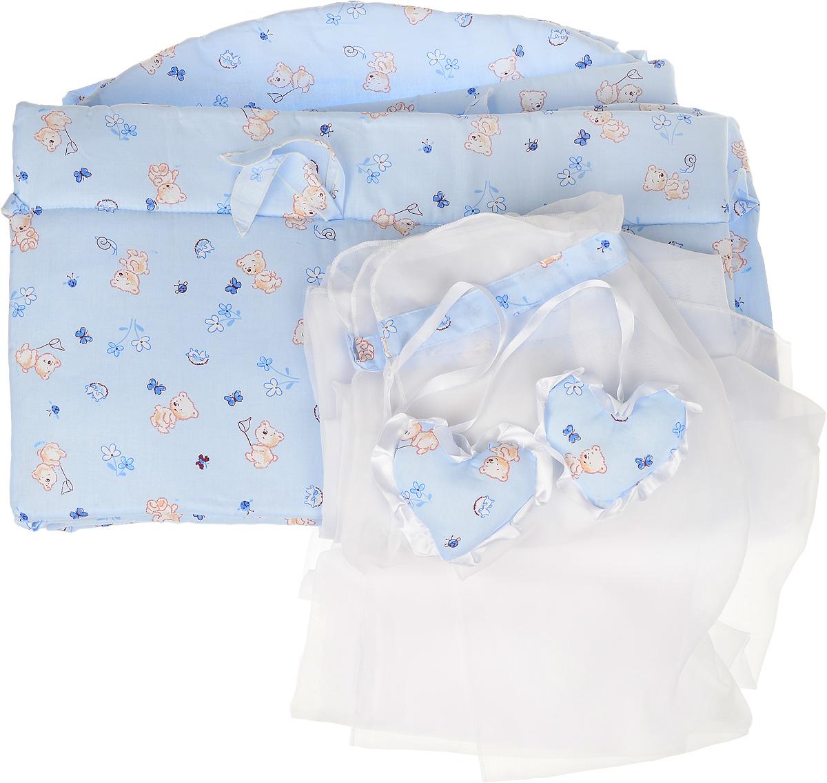 Фея Комплект в кроватку Мишки цвет голубой 2 предмета68/3/7Комплект в кроватку Фея Мишки состоит из бортика и балдахина. Бортик в кроватку состоит из четырех частей и закрывает весь периметр кроватки. Бортик крепится к кроватке с помощью специальных завязок, благодаря чему его можно поместить в любую детскую кроватку. Бортик выполнен из натурального хлопка безупречной выделки. Деликатные швы рассчитаны на прикосновение к нежной коже ребенка. Борт оформлен изображениями забавных плюшевых медвежат.Балдахин, выполненный из полиэстера, может использоваться как для люльки, так и для кроватки. Сверху балдахин декорирован вставкой из хлопка с рисунком. Изделие оснащено двумя атласными лентами с мягкими игрушками в виде сердец на концах. Ленты завязываются на бант.