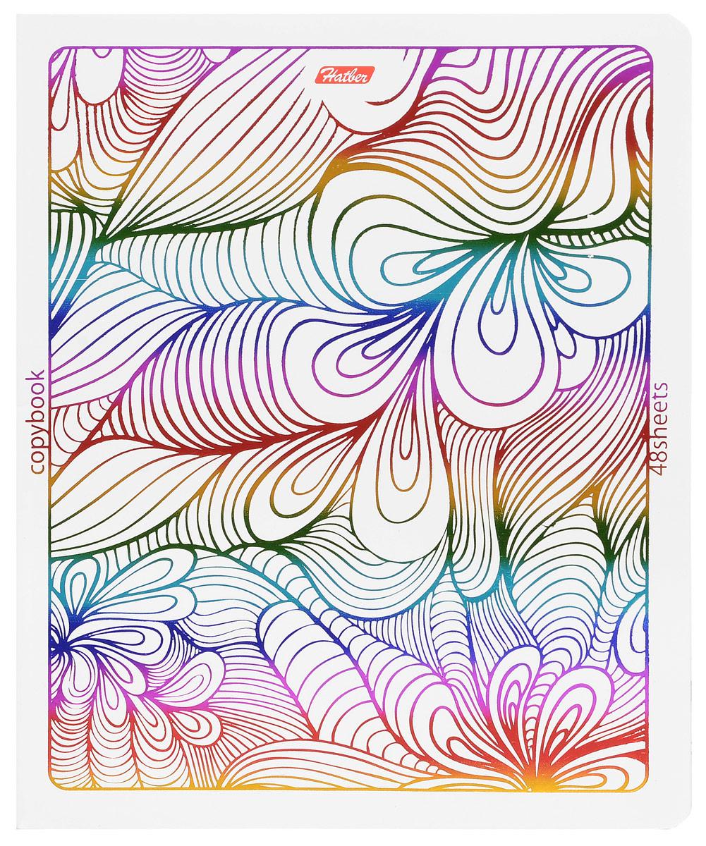 Hatber Тетрадь Rainbow 48 листов в клетку 1453372523WDТетрадь Hatber Rainbow отлично подойдет для занятий школьнику, студенту или для различных записей.Обложка, выполненная из плотного картона, украшена тиснением радужной фольгой. Игра разноцветных металлизированных переливов в сочетании с оригинальными узорами дарит тетрадке магический эффект.Внутренний блок тетради, соединенный металлическими скрепками, состоит из 48 листов белой бумаги в голубую клетку с полями.