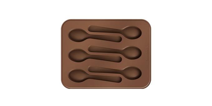 Форма для шоколада Tescoma Delicia. Ложечки, 6 ячеек54 009312Форма Tescoma Delicia. Ложечки прекрасно подходит для приготовления оригинальных шоколадных ложечек и других лакомств в домашней и профессиональной гастрономии. Изделие выполнено из высококачественного гибкого и термостойкого силикона, готовый шоколад не прилипает к форме и его можно легко вынуть. В комплект входит складная подставка для экономии места при использовании и буклет с рецептами.Подходит для использования в холодильнике, морозильнике и микроволновой печи. Можно мыть впосудомоечной машине. Размер формы: 18 х 15 см.Количество ячеек: 6 шт.