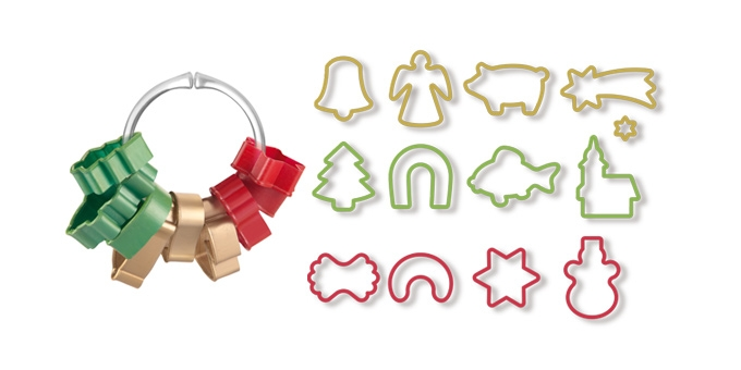 Формочки для рождественского печенья Tescoma Delicia, 13шт68/5/2Формочки для рождественского печенья Tescoma Delicia предназначены для создания оригинальных пряников и печенья.Набор содержит 13 пластиковых формочек и кольцо для удобного и компактного хранения формочек.