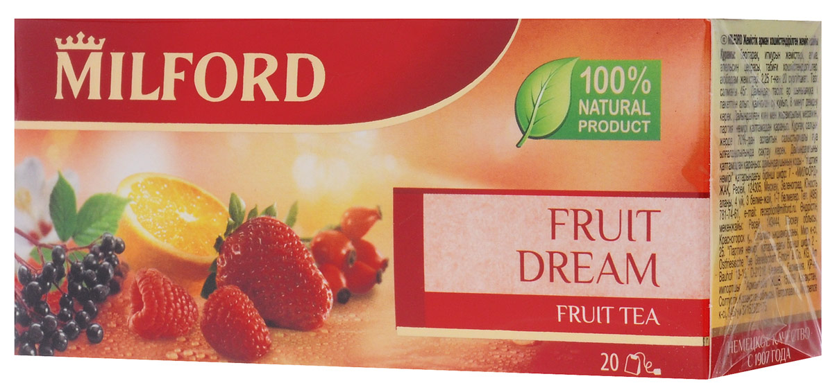 Milford Фруктовая мечта фруктовый чай в пакетиках, 20 штбая210рГармоничное сочетание плодов шиповника, яблок, апельсина, ягод бузины и гибискуса с ароматом клубники и малины - это настоящее открытие в области чая. Чай одинаково хорош как в горячем, так и холодном виде. Это не только вкусный, но и полезный напиток. Плоды шиповника богаты витамином С, а гибискус снимает усталость и насыщает организм энергией.