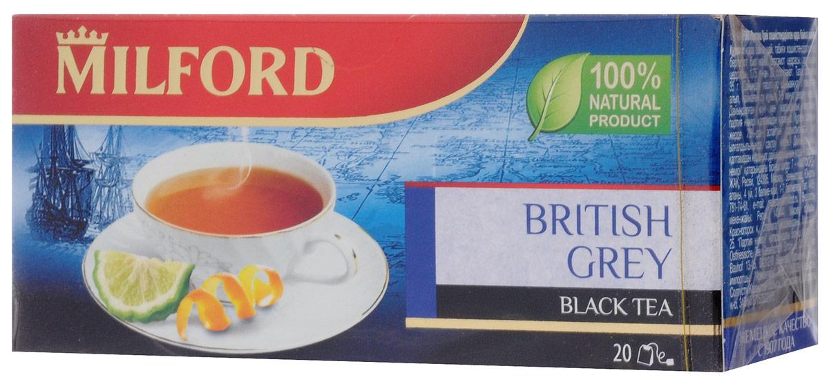 Milford Бритиш Грей черный чай в пакетиках, 20 шт101246Классический рецепт традиционного чая с бергамотом дополнен свежим ароматом апельсина. Он подчеркивает аромат и обновляет знакомый вкус.