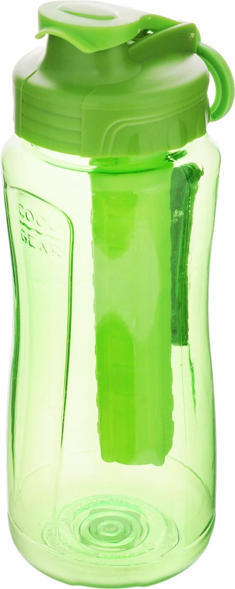 Бутылка питьевая Cool Gear Cove, с охлаждающим элементом, цвет: зеленый, 710 мл3B327Питьевая бутылка Cool Gear Cove идеально подходит для холодных напитков. Изделие выполнено из высококачественного пищевого пластика без содержания BPA. Внутрь бутылки встроен съемный охлаждающий элемент, поэтому в такой бутылке напитки останутся холодными в течение всего дня. Чтобы не откручивать крышку, бутылка снабжена специальным клапаном для быстрого доступа к воде. Сбоку имеется силиконовая рельефная вставка для комфортного использования, а также кольцо для крепления к рюкзаку или сумке. Винтовая крышка легко откручивается, а широкое горлышко позволяет аккуратно наполнять бутылку. Налейте в емкость воду, и у вас не будет необходимости в покупке прохладной воды в магазине.