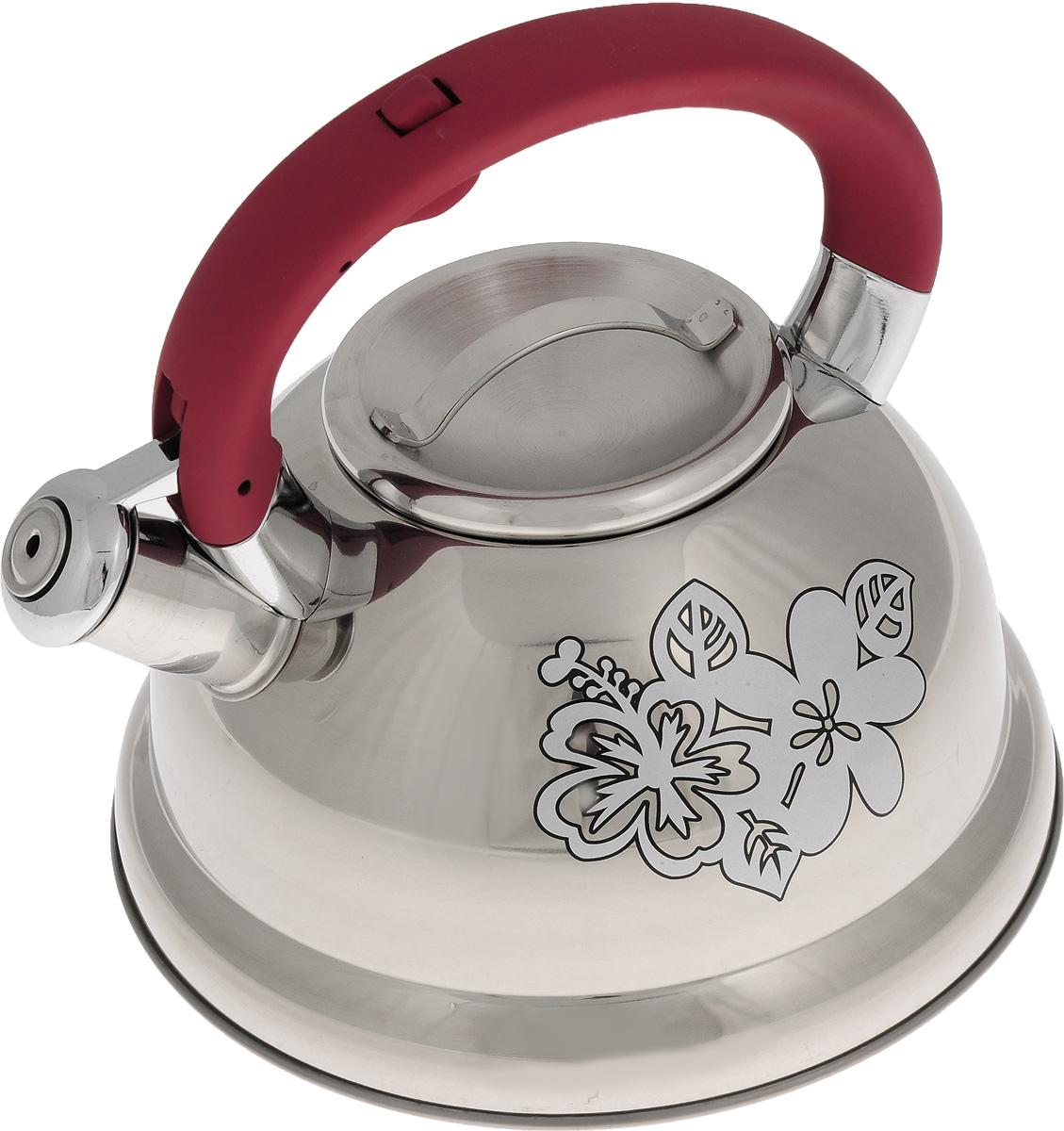 Чайник Mayer & Boch, со свистком, цвет: стальной, амарант, 2,6 л. 22787115510Чайник Mayer & Boch выполнен из высококачественной нержавеющей стали, что обеспечивает долговечность использования. Изделие оформлено изящным рисунком, который одновременно является индикатором цвета - при нагревании рисунок на корпусе меняет цвет. Ручка из бакелита делает использование чайника очень удобным и безопасным. Чайник снабжен свистком и кнопкой для открывания носика. Эстетичный и функциональный чайник будет оригинально смотреться в любом интерьере. Пригоден для использования на газовых, электрических, стеклокерамических и индукционных плитах. Можно мыть в посудомоечной машине.Диаметр чайника по верхнему краю: 10 см. Высота чайника (с учетом ручки): 20 см. Высота чайника (без учета ручки): 11,3 см.