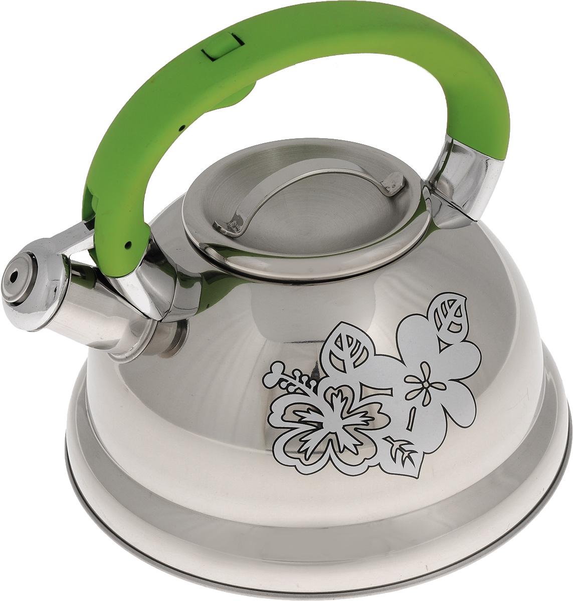 Чайник Mayer & Boch, со свистком, цвет: стальной, зеленый, 2,6 л. 2278868/5/4Чайник Mayer & Boch выполнен из высококачественной нержавеющей стали, что обеспечивает долговечность использования. Изделие оформлено изящным рисунком, который одновременно является индикатором цвета - при нагревании рисунок на корпусе меняет цвет. Ручка из бакелита делает использование чайника очень удобным и безопасным. Чайник снабжен свистком и кнопкой для открывания носика. Эстетичный и функциональный чайник с эксклюзивным дизайном будет оригинально смотреться в любом интерьере. Пригоден для использования на газовых, электрических, стеклокерамических и индукционных плитах. Можно мыть в посудомоечной машине.Диаметр чайника по верхнему краю: 10 см. Высота чайника (с учетом ручки): 20 см. Высота чайника (без учета ручки): 11,3 см.