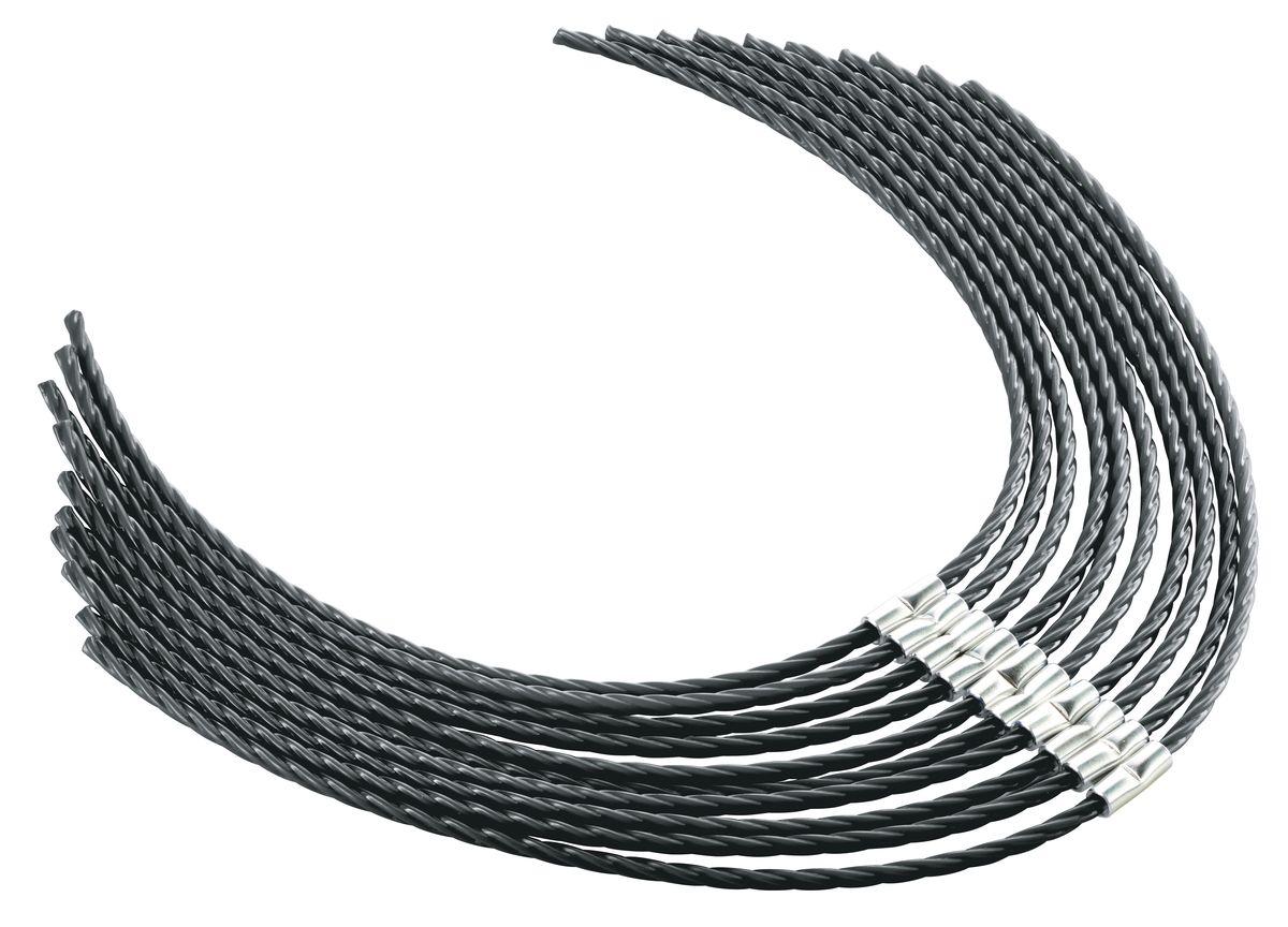 Леска для электрокосы Bosch AFS 23-372615S520JAЛеска для триммера-электрокосы AFS 23-37. Длина 37 см, толщина 3.5 мм, витая. Материал - суперпрочный нейлон 66. Комплект из 10 шт.