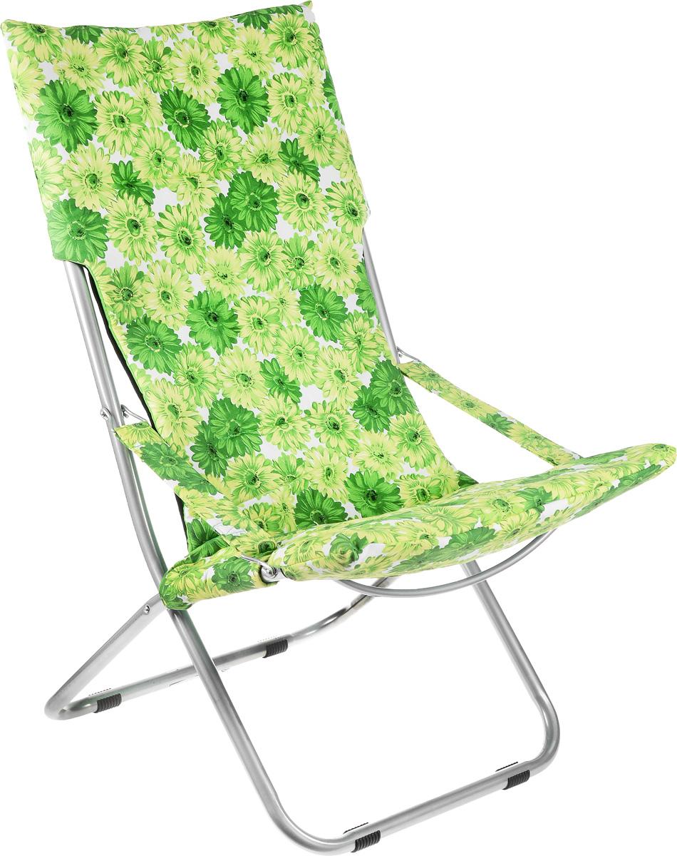 Кресло складное Wildman, цвет: зеленый, светло-зеленый, белый, 73 х 60 х 100 см0003929На складном кресле Wildman можно удобно расположиться в тени деревьев, отдохнуть в приятной прохладе летнего вечера.В использовании такое кресло достойно самых лучших похвал. Кресло выполнено из текстиля, каркас металлический. Мягкий съемный чехол с наполнителем из синтепона крепится на кресло при помощи застежек-липучек. В сложенном виде кресло удобно для хранения и переноски.