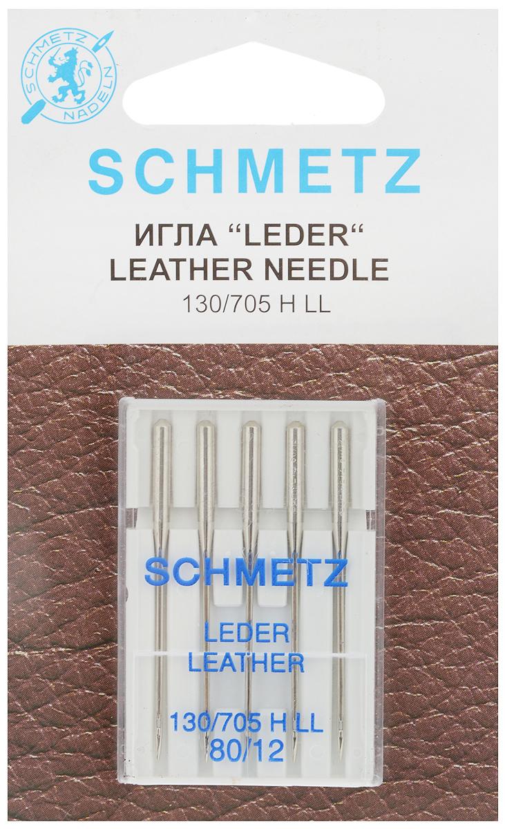 Набор игл для кожи Schmetz Leder, №80, 5 шт152411Набор Schmetz Leder состоит из пяти игл для бытовых швейных машин всех марок. Режущее левостороннее острие оставляет после прокола аккуратную прорезь. Иглы предназначены для кожи, искусственной кожи и похожих материалов. Не рекомендуется применять для текстильных изделий.Комплектация: 5 шт. Размер игл: №80.Стандарт: 130/705 H LL.