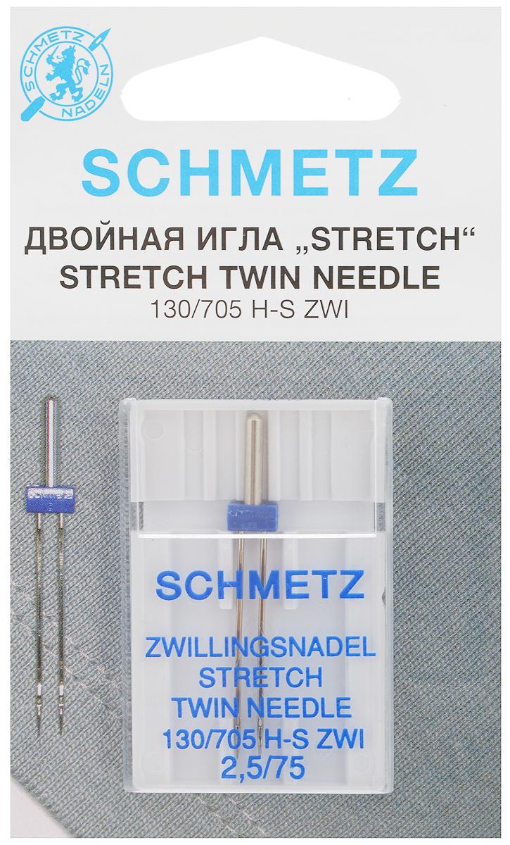 Игла для зигзаг-машин Schmetz Stretch, двойная, №2,5/75SM 10-09Двойная игла Schmetz Stretch применяется для кантов, одно- или двухцветных декоративных швов на эластичных и высокоэластичных материалах, таких как шелковый джерси, лайкра. Игла подходит только для зигзаг-машин с поперечно расположенным грейфером. Размер иглы: №2,5/75.Стандарт: 130/705 H-S ZWI.