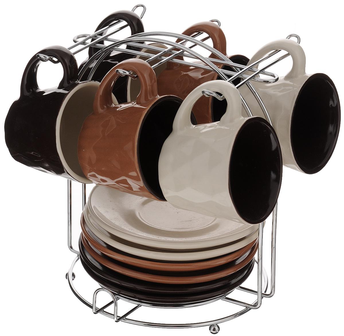 Набор кофейный Loraine, 13 предметов. 24668VT-1520(SR)Кофейный набор Loraine состоит из 6 чашек и 6 блюдец. Посуда изготовлена из высококачественной керамики. Для предметов набора предусмотрена специальная металлическая подставка с крючками для чашек и подставкой для блюдец. Изящный дизайн придется по вкусу и ценителям классики, и тем, кто предпочитает утонченность и изысканность. Набор Loraine настроит на позитивный лад и подарит хорошее настроение с самого утра. Он станет идеальным и необходимым подарком для вашего дома и для ваших друзей в праздники.Посуда подходит для использования в микроволновой печи и холодильнике, также можно мыть в посудомоечной машине. Объем чашки: 90 мл. Диаметр чашки (по верхнему краю): 6,5 см. Высота чашки: 5,5 см. Диаметр блюдца: 11,5 см. Высота блюдца: 1,7 см.Размер подставки: 14,5 х 15 х 18,7 см.