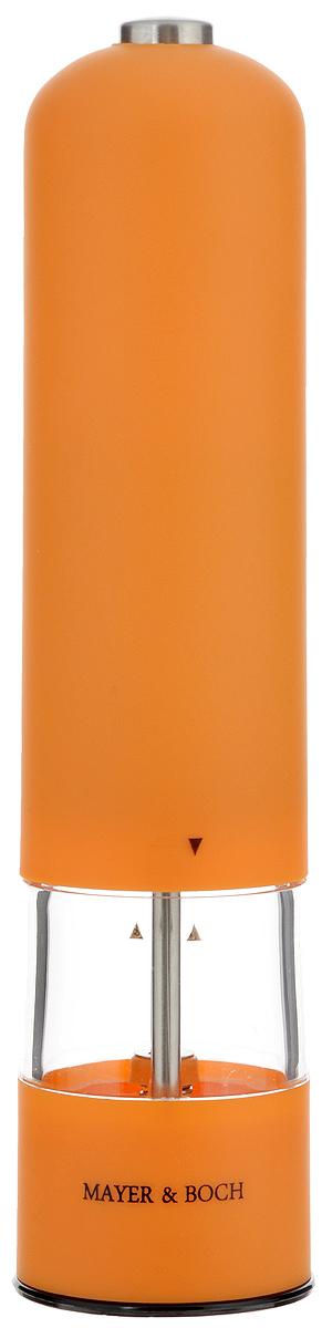 Перцемолка электрическая Mayer & Boch, цвет: оранжевый, прозрачный, высота 23 смVT-1520(SR)Перцемолка электрическая Mayer & Boch подходит для хранения и помола любых видов приправ, таких как перец горошком или крупная соль. Корпус изделия выполнен из пластика с прорезиненным, приятным на ощупь покрытием. Емкость изготовлена из прозрачного акрила. Мелющий механизм с регулируемой грубостью помола произведен из первоклассной нержавеющей стали. Еще одной особенностью данной перцемолки является подсветка крышки. Имеется как ручной, так и автоматический режим. Такая перцемолка прекрасно подходит для использования на кухне и для сервировки стола. Работает от 4 батареек типа АА (в комплект не входят).