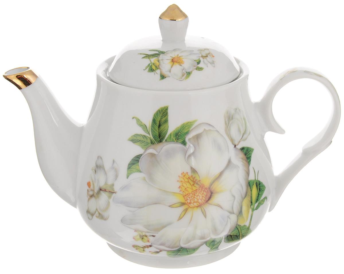 Чайник заварочный Loraine Цветы, с фильтром, 1 л391602Заварочный чайник Loraine Цветы изготовлен из керамики. Чайник декорирован изображением цветов, носик чайника и крышка оформлены золотистой эмалью. Заварочный чайник поможет вам в приготовлении вкусного и ароматного чая, а также станет украшением вашей кухни. Яркий дизайн придает чайнику особый шарм, он удобен в использовании и понравится каждому. Такой заварочный чайник станет приятным и практичным подарком на любой праздник. Чайник упакован в подарочную коробку. Диаметр по верхнему краю: 10 см. Высота с учетом крышки: 16,5 см.Высота фильтра: 5 см.