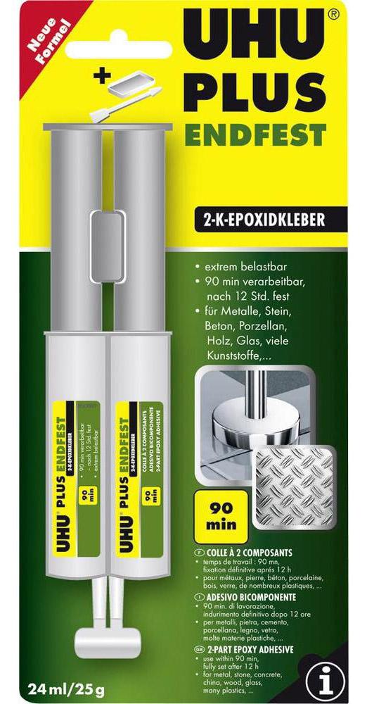 Клей UHU Plus EndFest, эпоксидный, двухкомпонентный, 25 г4501Клей UHU Plus EndFest - не содержащий растворителя двухкомпонентный клей на основе эпоксидной смолы для сверхпрочного склеивания большинства материалов (металл, стекло, фарфор, дерево, резина, твердые пластики). Не подходит для термопластичных пластиков и мягкого ПВХ.Рабочее время смеси – 1-1,5 часа.При высыхании клеевой слой становится прозрачным и приобретает светло-желтый оттенок.Клей обладает ярко выраженными электроизолирующими свойствами.Устойчив к неконцентрированным кислотам, щелочам, маслам, старению, влажности, растворителям. Клеевое соединение сохраняет свои свойства при температуре от -40 С до +80 С.Выдерживает нагрузку до 300 кг/см2 .Инструкция по применению.Необходимо смешать оба компонента в равных частях ПО ОБЪЁМУ. По весу соотношение будет составлять 80:100 (отвердитель : клеящее вещество). При отклонении от этого соотношения масса приобретает следующие свойства:А) при соотношении по весу до 50:100 (отвердитель : связывающее вещество) получается жёсткое клеевое соединение с повышенной устойчивостью к воздействию воды, влаги и химикалиев;Б) при соотношении по весу до 120:100 (отвердитель : связывающее вещество) получается гибкое клеевое соединение, но с невысокой устойчивостью к воздействию воды, влаги и химикалиев.В пунктах А) и Б) указаны максимально допустимые диапазоны отклонения от «стандартной» рецептуры. При увеличении удельной доли отвердителя происходит незначительное увеличение времени годности смеси и время, требуемое на затвердевание.Тщательное смешивание – важнаяпредпосылка для создания устойчивого клеевого соединения!!! Для смешивания можно использовать емкость из пластика. Маленькие количества можно приготовить на стекле, помешивая массу металлическим или деревянным шпателем. Продолжать помешивание необходимо до тех пор, пока цвет массы не станет абсолютно однородным. При этом необходимо захватывать также массу на дне и с краёв ванны.В блистере двойной шприц с клеем, вес 25 г
