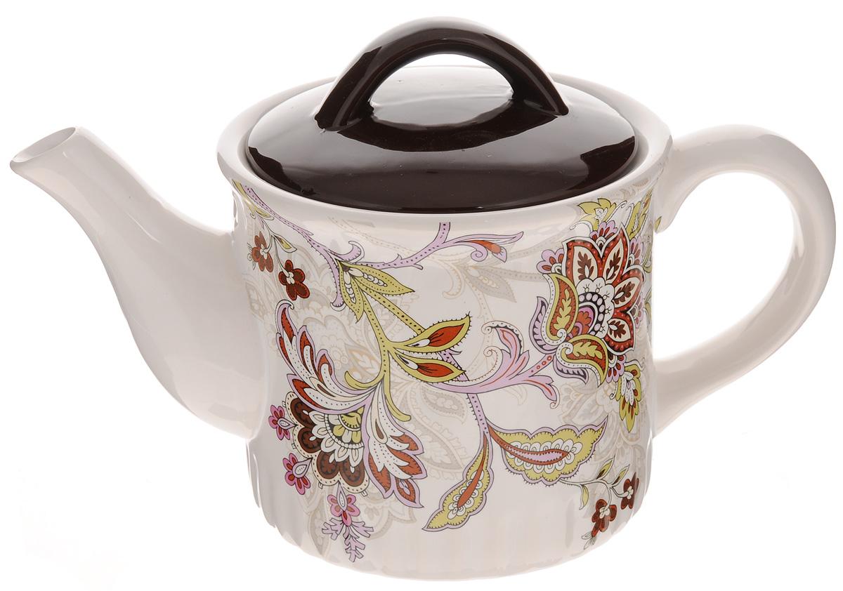 Чайник заварочный Loraine, 850 мл. 2485124851Заварочный чайник Loraine изготовлен из высококачественного доломита и оформлен красочным рисунком. Гладкая и идеально ровная поверхность обеспечивает легкую очистку. Чайник поможет заварить крепкий ароматный чай и великолепно украсит стол к чаепитию. Можно использовать в микроволновой печи и мыть в посудомоечной машине. Диаметр чайника по верхнему краю: 9 см. Высота чайника (без учета крышки): 11,5 см.