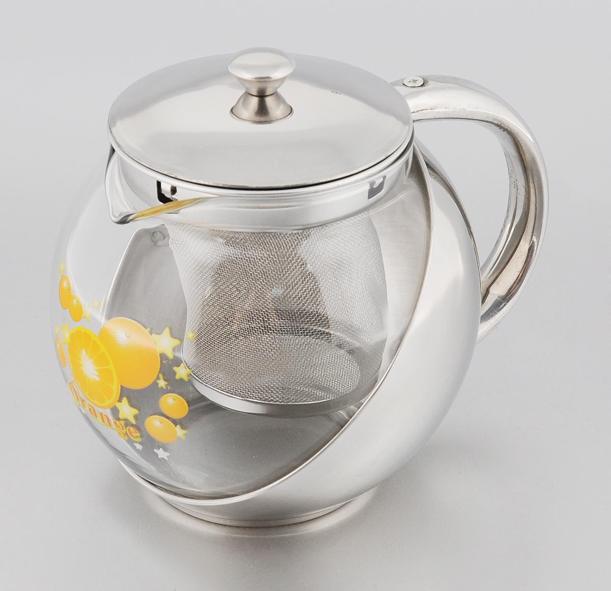 Чайник заварочный Mayer & Boch Orange, 700 мл115510Заварочный чайник Mayer & Boch Orange позволит быстро и просто приготовить свежий и ароматный чай или кофе. Съемный фильтр из нержавеющей стали поможет приготовить чистый напиток без частиц заварки, а прозрачные стенки стеклянной колбы позволят наблюдать за приготовлением напитка. Изящный и современный стиль чайника прекрасно подчеркнет декор любой кухни. Диаметр (по верхнему краю): 8 см. Высота: 11 см.