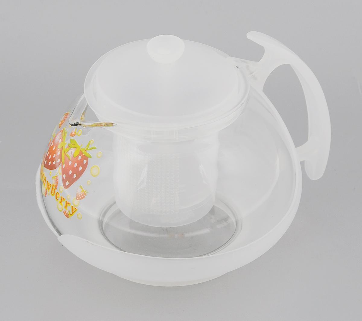 Чайник заварочный Mayer & Boch, с фильтром, цвет: прозрачный, белый, 700 мл. 2022391602Заварочный чайник Mayer & Boch изготовлен из жаропрочного стекла и полипропилена. Изделие оснащено сетчатым фильтром из пищевого полипропилена (пластика), который задерживает чаинки и предотвращает их попадание в чашку, а прозрачные стенки дадут возможность наблюдать за насыщением напитка.Чай в таком чайнике дольше остается горячим, а полезные и ароматические вещества полностью сохраняются в напитке. Диаметр чайника (по верхнему краю): 8 см.Высота чайника (без учета крышки): 9,5 см.Высота фильтра: 6,5 см.