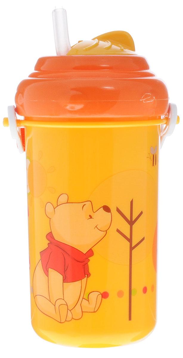 Lubby Поильник-непроливайка Медвежонок Винни с трубочкой от 6 месяцев цвет желтый оранжевый 360 мл