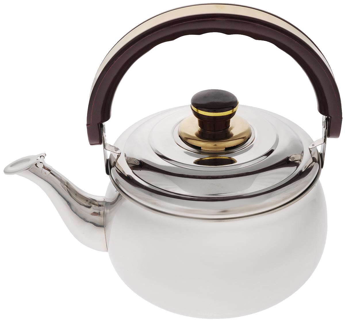 Чайник Mayer & Boch, со свистком, 3 л. 1036115510Чайник Mayer & Boch изготовлен из высококачественной нержавеющей стали с зеркальной полировкой. Крышка чайника оснащена свистком, что позволит контролировать процесс подогрева или кипячения воды. Подвижная бакелитовая ручка имеет эргономичную форму, обеспечивая дополнительное удобство при разлитии напитка. Широкое верхнее отверстие позволит удобно налить воду. Чайник подходит для использования на электрических, газовых, стеклокерамических плитах. Можно мыть в посудомоечной машине.Диаметр чайника по верхнему краю: 18 см.Высота чайника (без учета ручки и крышки): 11 см.