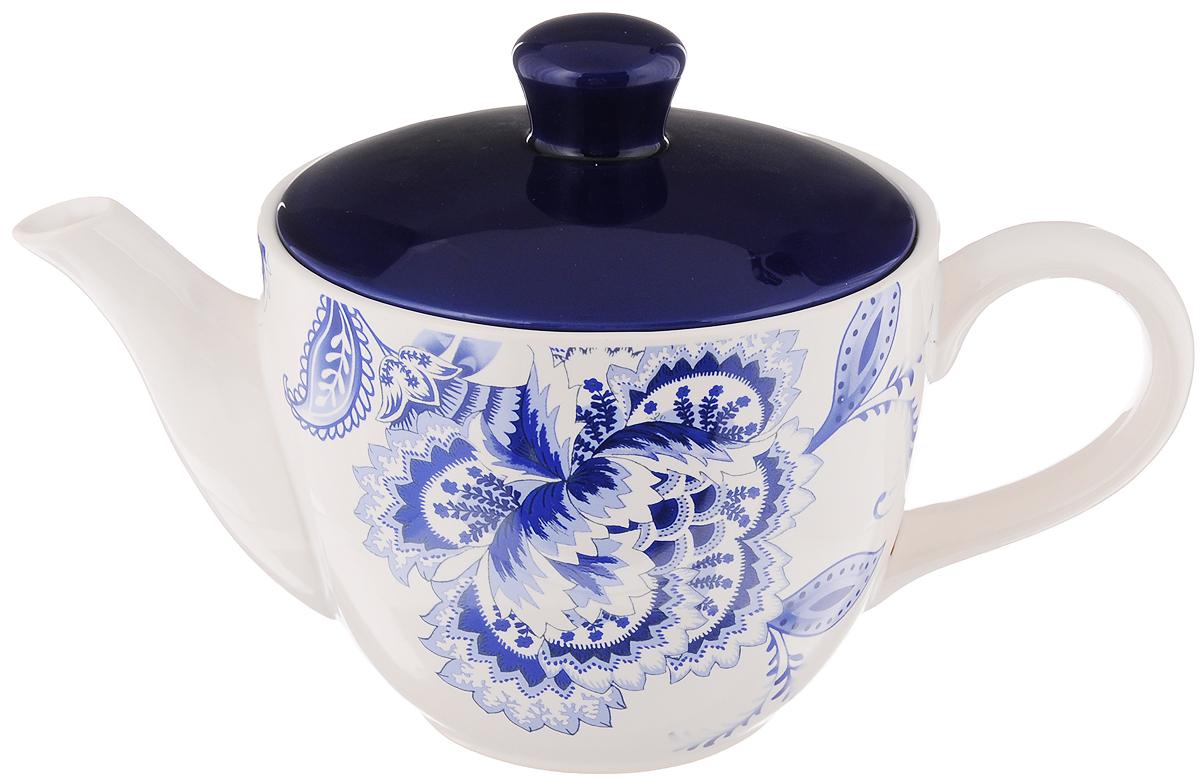 Чайник заварочный Loraine, 920 мл24824Заварочный чайник Loraine изготовлен из высококачественной доломитовой керамики. Он имеет изящную форму и красивый дизайн в стиле гжель. Гладкая, идеально ровная поверхность облегчает очистку. Широкое верхнее отверстие делает чайник необычным и оригинальным. Чайник сочетает в себе изысканный дизайн с максимальной функциональностью. Красочность оформления придется по вкусу и ценителям классики, и тем, кто предпочитает утонченность и изысканность. Чайник можно мыть в посудомоечной машине и использовать в микроволновой печи. Диаметр (по верхнему краю): 13,5 см. Высота (без учета крышки): 10,5 см.