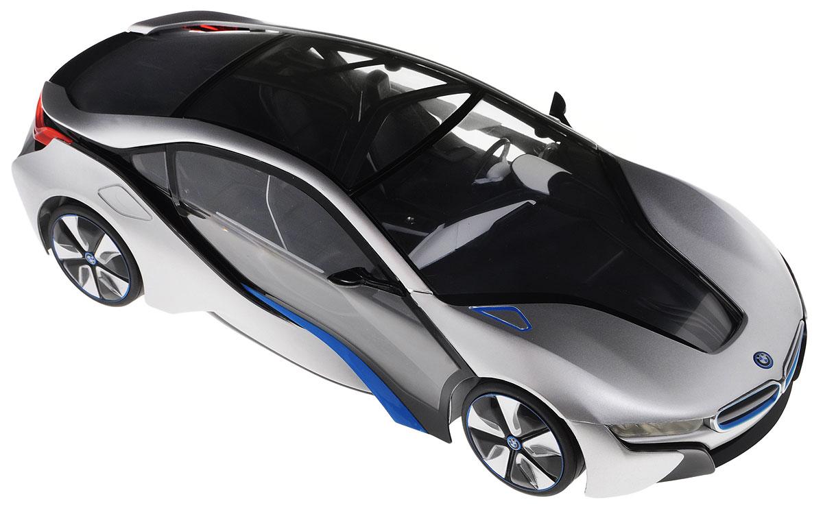 """Радиоуправляемая модель Rastar """"BMW I8"""" - отличный подарок для вашего мальчика! Предназначена для тех, кто любит роскошь и высокие скорости. Авто обладает неповторимым провокационным стилем и спортивным характером. Потрясающая маневренность, динамика и покладистость - отличительные качества этой модели. Возможные движения: вперед, назад, вправо, влево. Имеются световые эффекты. Пульт управления работает на частоте 40 MHz. Радиоуправляемые игрушки способствуют развитию координации движений, моторики и ловкости. Ваш ребенок часами будет играть с моделью, придумывая различные истории и устраивая соревнования. Порадуйте его таким замечательным подарком! Для работы машины необходимо купить 5 батареек напряжением 1,5V типа АА (не входят в комплект). Для работы пульта управления необходима батарейка 9V типа """"Крона"""" (не входит в комплект)."""