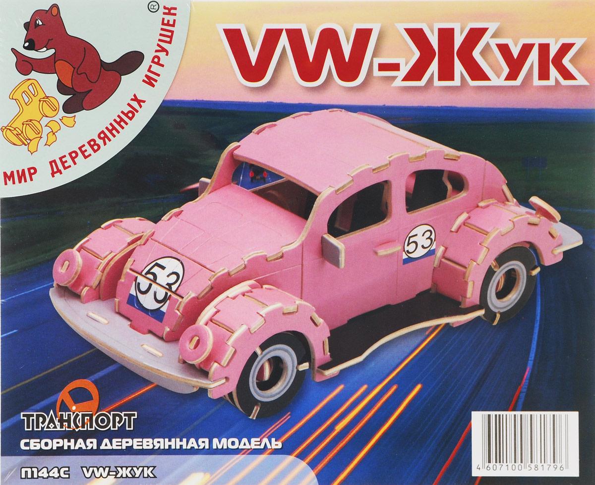 Мир деревянных игрушек Сборная деревянная модель Фольксваген Жук цвет розовый
