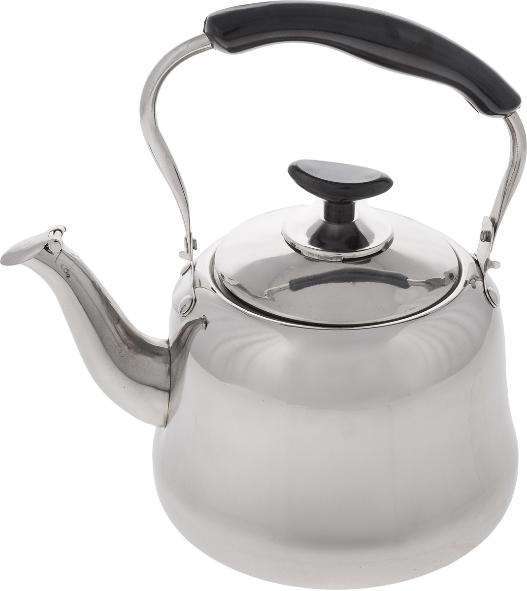 Чайник Mayer & Boch, со свистком, 2 л. 23505115510Чайник Mayer & Boch изготовлен из высококачественной нержавеющей стали. Гигиеничен и устойчив к износу при длительном использовании. Гладкая и ровная поверхность существенно облегчает уход за посудой. Благодаря высококачественным материалам, при кипячении чайник сохраняет все полезные свойства воды. Носик чайника оснащен свистком, звуковой сигнал которого подскажет, когда закипит вода. Это освободит вас от непрерывного наблюдения за чайником. Эргономичная ручка выполнена из бакелита. Чайник со свистком Mayer & Boch подходит для использования на газовых, электрических и стеклокерамических плитах. Также изделие можно мыть в посудомоечной машине. Диаметр чайника (по верхнему краю): 10 см. Высота чайника (без учета крышки и ручки): 11,5 см. Высота чайника (с учетом ручки): 22,5 см.