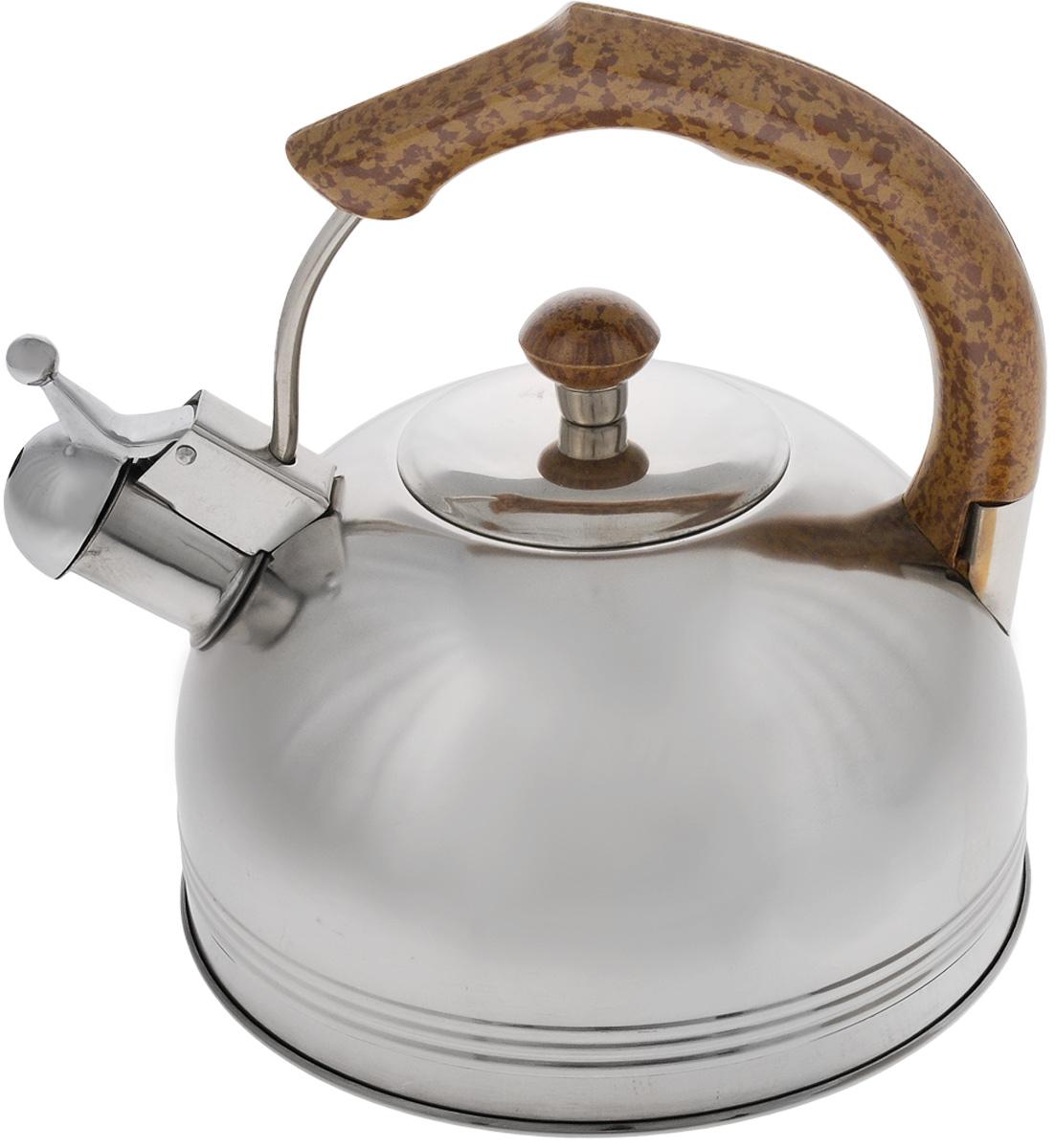 Чайник Mayer & Boch, со свистком, 3 л. 6087VT-1520(SR)Чайник Mayer & Boch выполнен из высококачественной нержавеющей стали, что делает его весьма гигиеничным и устойчивым к износу при длительном использовании. Капсулированное дно с прослойкой из алюминия обеспечивает наилучшее распределение тепла. Носик чайника оснащен насадкой-свистком, что позволит вам контролировать процесс подогрева или кипячения воды. Фиксированная ручка, изготовленная из бакелита в цвет дерева, делает использование чайника очень удобным и безопасным. Поверхность чайника гладкая, что облегчает уход за ним. Эстетичный и функциональный, с эксклюзивным дизайном, чайник будет оригинально смотреться в любом интерьере.Подходит для всех типов плит, кроме индукционных. Можно мыть в посудомоечной машине.Высота чайника (без учета ручки и крышки): 11,5 см.Высота чайника (с учетом ручки): 22 см.Диаметр чайника (по верхнему краю): 8,5 см.
