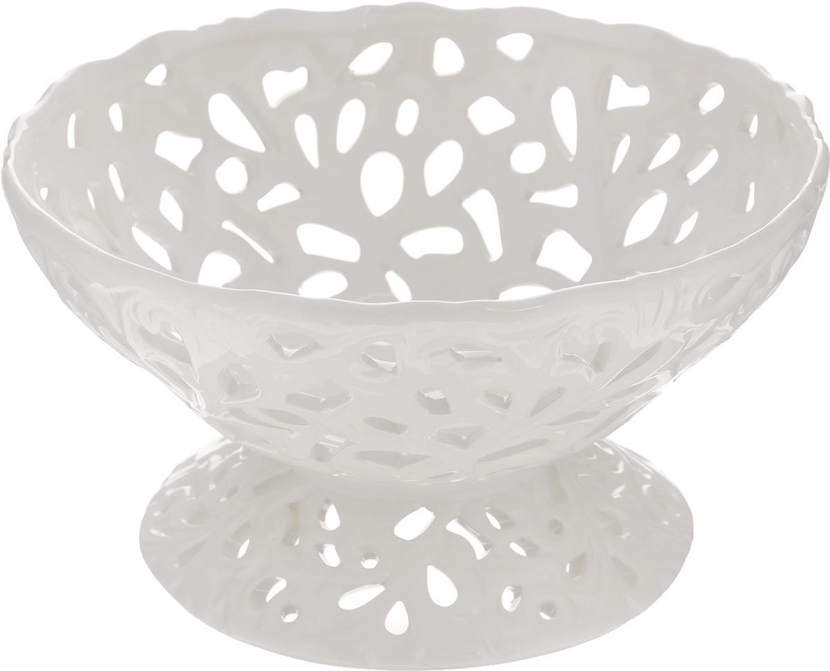 Конфетница Loraine Ажур, диаметр 18,5 см115510Конфетница Loraine Ажур, изготовленная из высококачественного доломита, украшена оригинальным ажурным узором. Стильная форма и интересное исполнение идеально впишутся в любой стиль, а универсальный белый цвет подойдет к любой мебели.