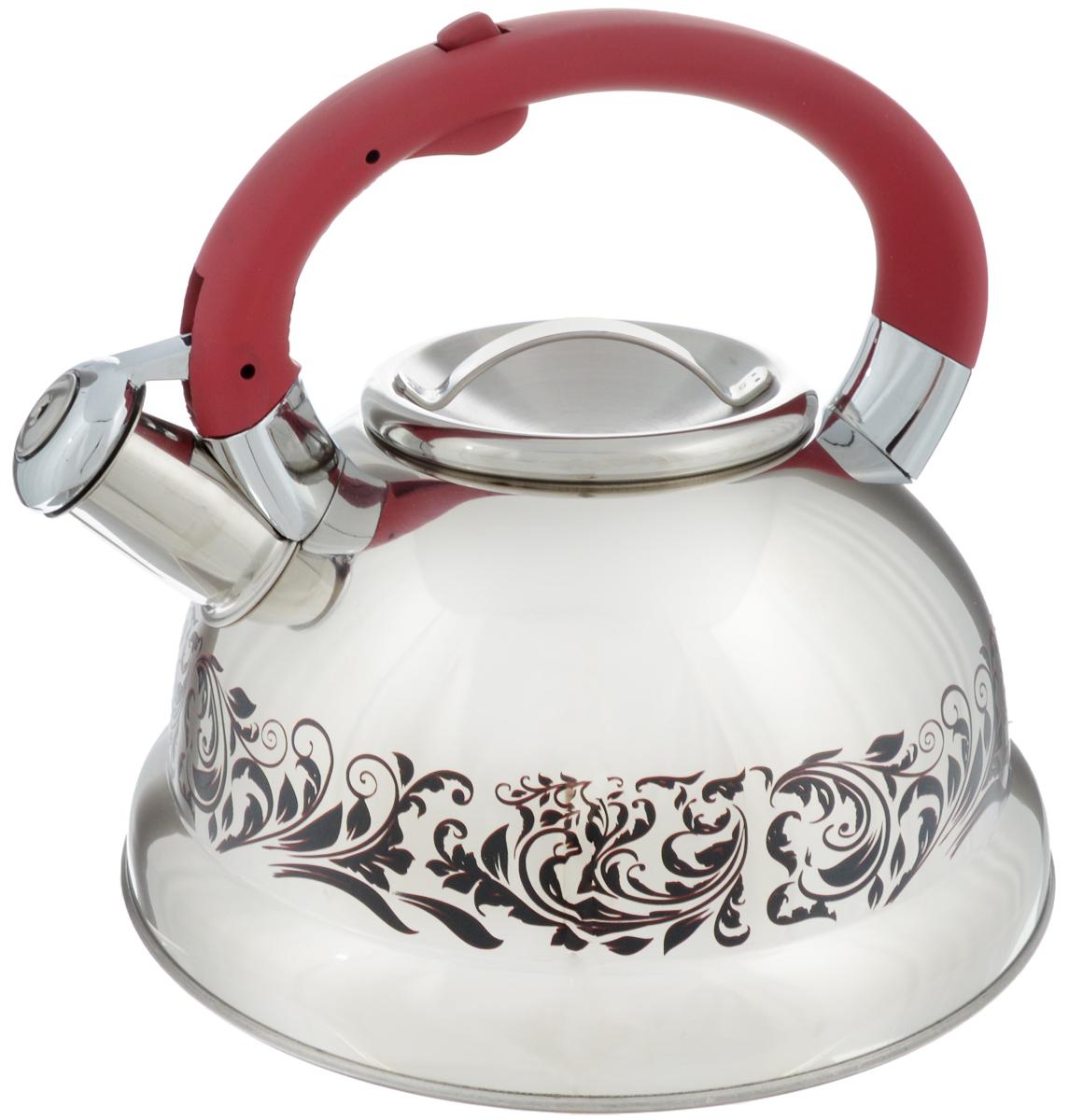 Чайник Mayer & Boch, со свистком, цвет: стальной, бордовый, 2,6 л. 23414VT-1520(SR)Чайник Mayer & Boch выполнен из высококачественной нержавеющей стали, что обеспечивает долговечность использования. Изделие оформлено изящным рисунком, который одновременно является и индикатором цвета - при нагревании рисунок на корпусе меняет цвет. Ручка из бакелита с покрытием soft-touch делает использование чайника очень удобным и безопасным. Чайник снабжен свистком и кнопкой для открывания носика. Пригоден для использования на всех видах плит, включая индукционные. Можно мыть в посудомоечной машине.Диаметр чайника по верхнему краю: 10 см.Высота чайника (без учета ручки): 11 см.Высота чайника (с учетом ручки): 20,5 см.