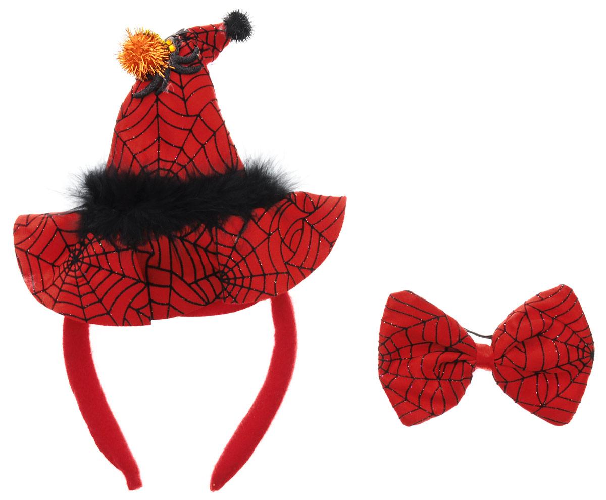 Partymania Ободок Шляпа Ведьмочки с бабочкой цвет красный черный -  Аксессуры для карнавальных костюмов