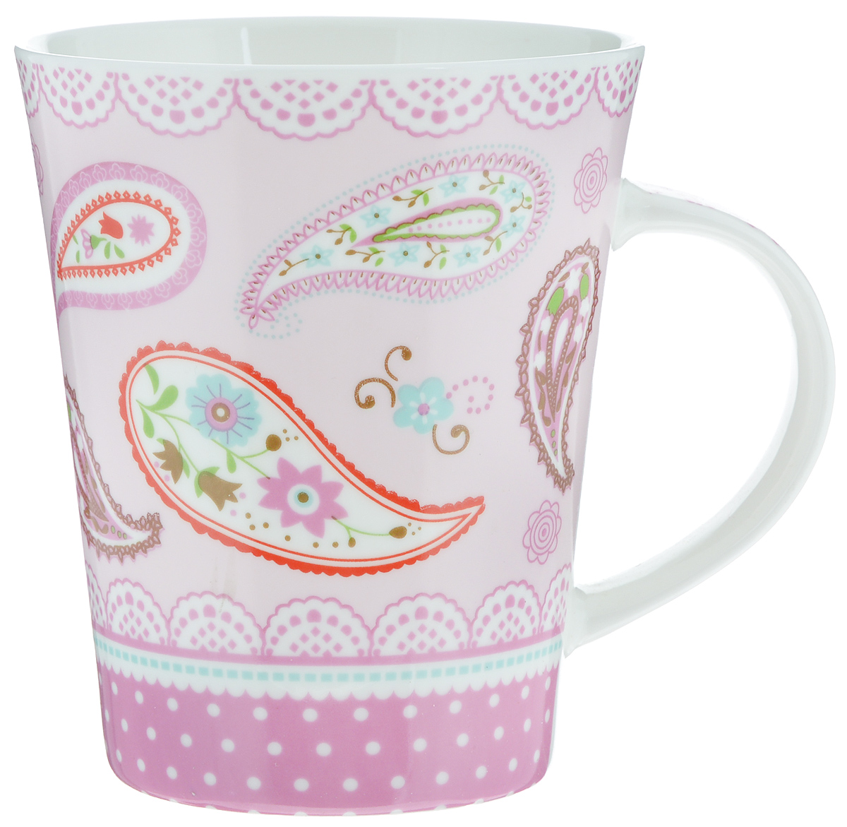 Кружка Loraine, цвет: светло-розовый, красный, зеленый, 400 мл. 22116115610Кружка Loraine изготовлена из высококачественного фарфора. Изделие оформлено ярким рисунком. Благодаря своим термостатическим свойствам, изделие отлично сохраняет температуру содержимого - морозной зимой кружка будет согревать вас горячим чаем, а знойным летом, напротив, радовать прохладными напитками. Такой аксессуар создаст атмосферу тепла и уюта, настроит на позитивный лад и подарит хорошее настроение с самого утра. Это оригинальное изделие идеально подойдет в подарок близкому человеку. Диаметр (по верхнему краю): 9 см.Высота кружки: 11 см. Объем: 400 мл.