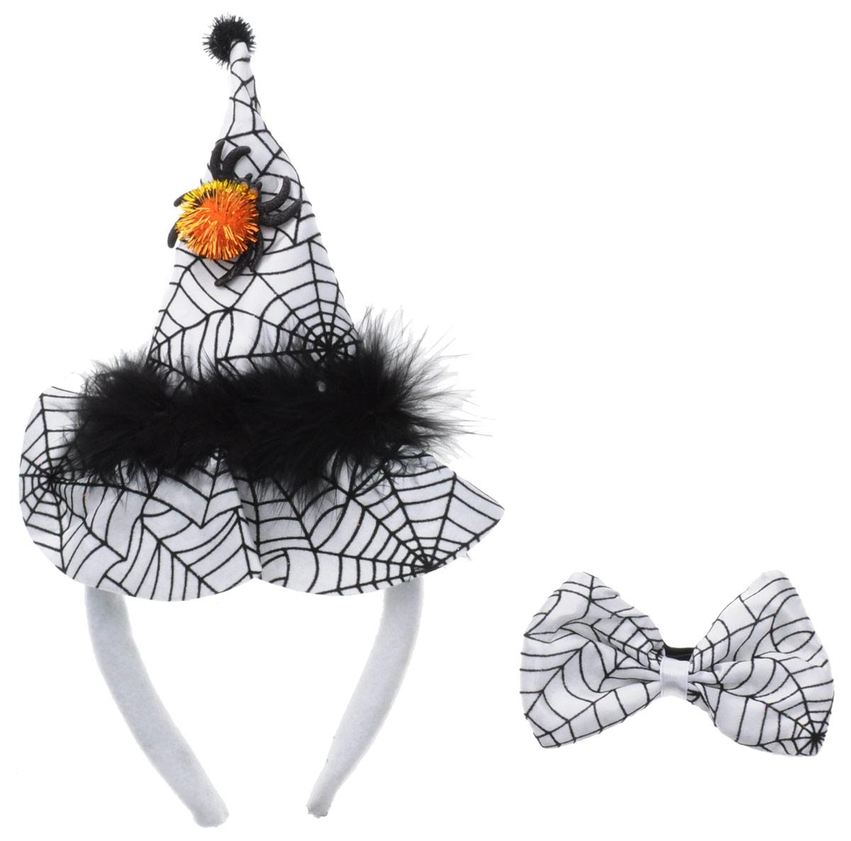 Partymania Ободок Шляпа Ведьмочки с бабочкой цвет белый черный, Eafa Novelty Company, LTD