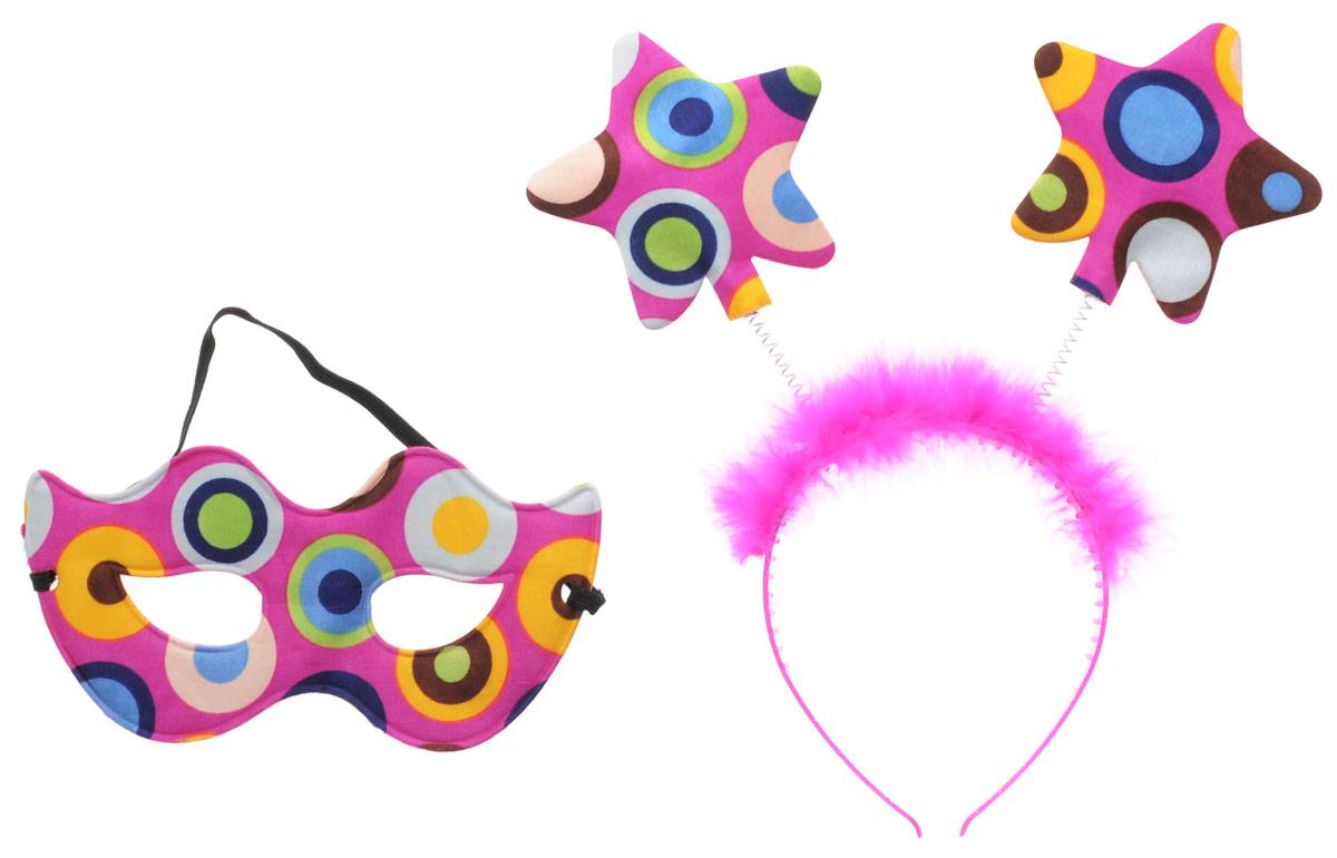 Partymania Ободок с маской карнавальной Звездочки цвет фуксия -  Аксессуры для карнавальных костюмов