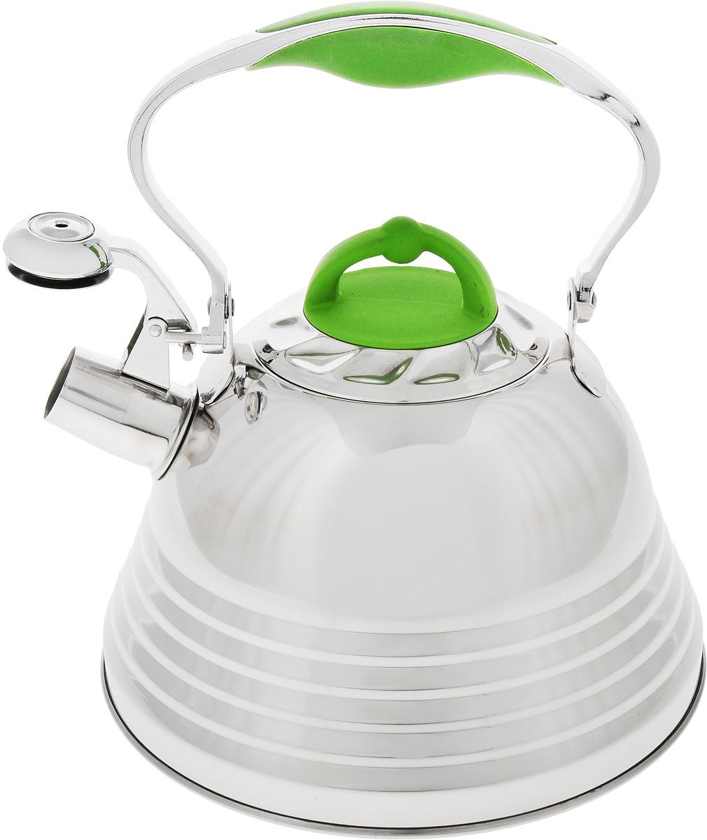 Чайник Mayer & Boch, со свистком, цвет: зеленый, стальной, 3 л. 22785391602Чайник Mayer & Boch выполнен из высококачественной нержавеющей стали, что обеспечивает долговечность использования. Капсулированное дно с прослойкой из алюминия обеспечивает наилучшее распределение тепла. Носик чайника оснащен насадкой-свистком и устройством для его открывания, что позволит вам контролировать процесс подогрева или кипячения воды. Ручка оснащена силиконовой вставкой для предотвращения ожогов на руках.Можно мыть в посудомоечной машине. Подходит для всех типов плит, включая индукционные.Диаметр (по верхнему краю): 10 см. Высота чайника (без учета крышки и ручки): 13 см.