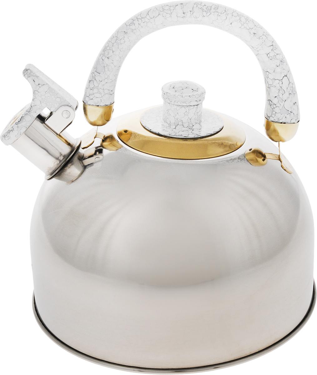 Чайник Mayer & Boch, цвет: стальной, белый, золотой, 4 л. 1046A115510Чайник Mayer & Boch изготовлен из высококачественной нержавеющей стали с зеркальной полировкой, что делает его весьма гигиеничным и устойчивым к износу при длительном использовании. Гладкая и ровная поверхность существенно облегчает уход за посудой. Выполненный из качественных материалов чайник при кипячении сохраняет все полезные свойства воды. Носик чайника имеет откидной свисток, звуковой сигнал которого подскажет, когда закипит вода. Крышка, свисток и ручка выполнены из бакелита.Классический дизайн чайника Mayer & Boch дополнит любую кухню. Подходит для использования на всех типах кухонных плит, кроме индукционных.Высота чайника (с учетом ручки): 21 см. Высота чайника (без учета ручки и крышки): 12 см. Диаметр по верхнему краю: 8,5 см.
