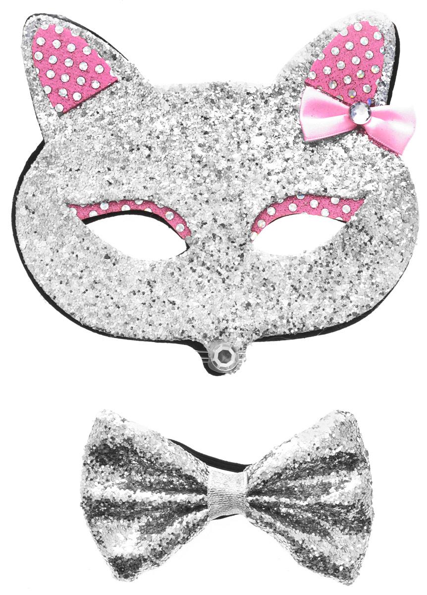 Partymania Маска карнавальная Кошечка с бабочкой цвет серебристый розовый