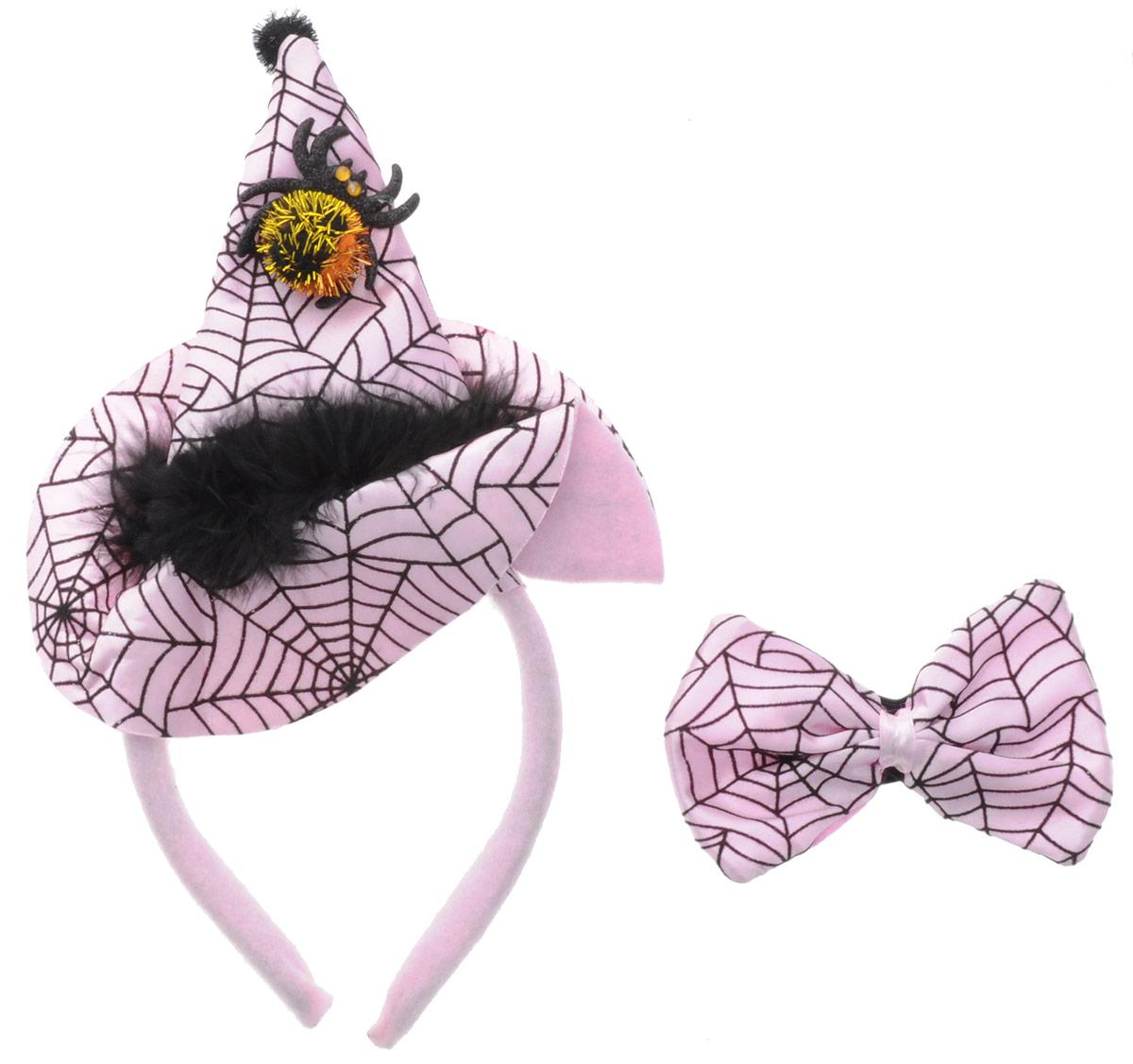 Partymania Ободок Шляпа Ведьмочки с бабочкой цвет розовый черный -  Аксессуры для карнавальных костюмов