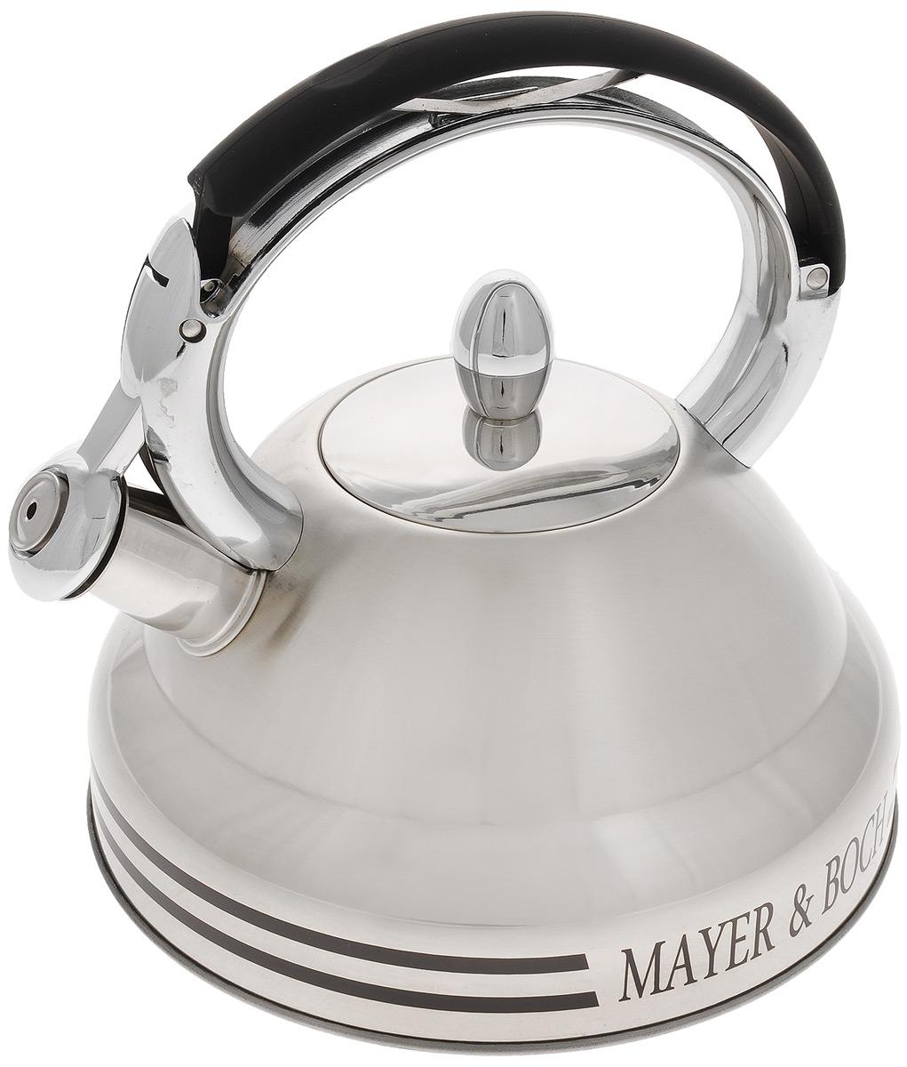 Чайник Mayer & Boch, со свистком, 2,7 л. 22415115510Чайник Mayer & Boch выполнен из нержавеющей стали высокой прочности. При кипячении сохраняет все полезные свойства воды. Весьма гигиеничен и устойчив к износу при длительном использовании. Гладкая и ровная поверхность существенно облегчает уход за посудой. Чайник оснащен свистком, который громко оповестит о закипании воды. Ручка чайника изготовлена из пластика с покрытием Soft-Touch. Такой чайник идеально впишется в интерьер любой кухни и станет замечательным подарком к любому случаю. Подходит для газовой плиты, не подходит для индукционной.Диаметр чайника (по верхнему краю): 9 см. Высота чайника (с учетом ручки): 22,5 см.Высота чайника (без учета ручки и крышки): 11 см.