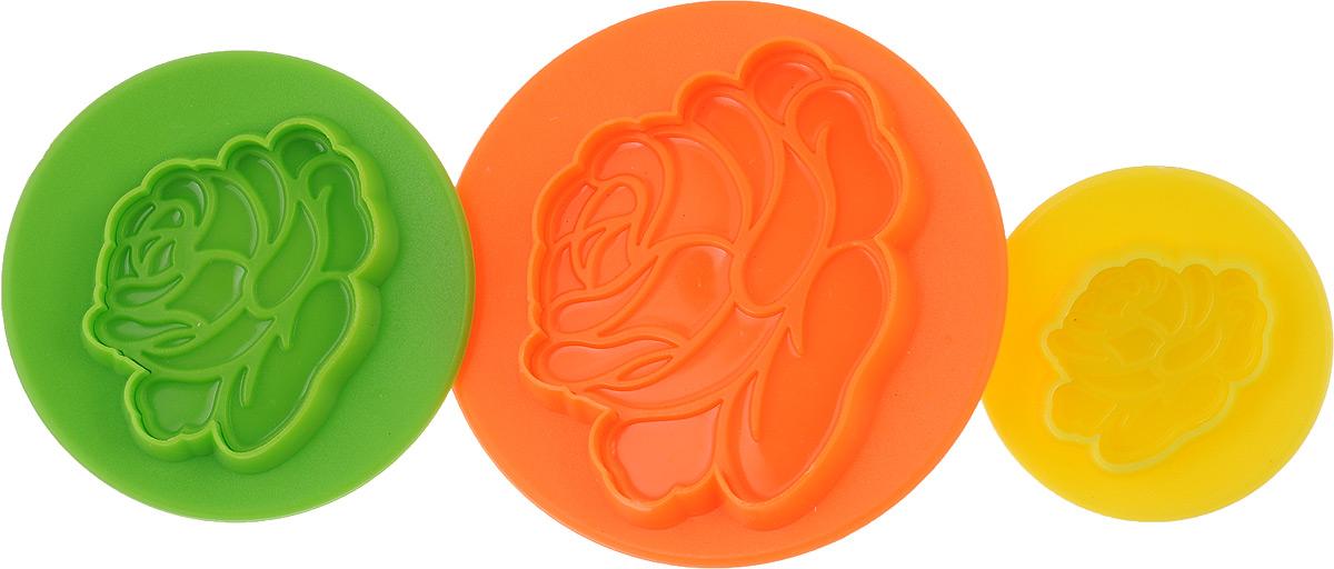 24013 Набор форм для выпечки 3пр ЦВЕТОК МВ цвет желтый оранжевый зеленый54 00931224013 Набор форм для выпечки 3пр ЦВЕТОК МВ 25,5х21х11 см