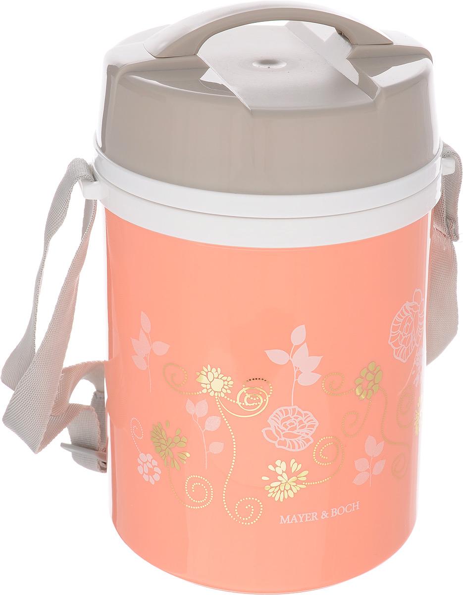 Термос пищевой Mayer & Boch, цвет: коралловый, серый, 1,8 лVT-1520(SR)Пищевой термос Mayer & Boch пригодится в любой ситуации: будь то экстремальный поход, пикник, поездка, или вы просто хотите взять с собой домашнюю еду в офис. Корпус термоса, выполненный из цветного пищевого полипропилена, декорирован цветочным узором. На крышке для удобства переноски предусмотрена ручка и ремень. Колба термоса изготовлена из прочной нержавеющей стали, которая устойчива к механическим повреждениям, она не разобьется при падении и не треснет от резкого перепада температуры. В широкое горлышко термоса помещены три контейнера с крышками, изготовленные из пищевого полипропилена. Крышки легко открываются и плотно закрываются. В комплекте также предусмотрена ложка, которая хранится в специальном отверстии в крышке.Термос Mayer & Boch - это идеальный вариант для переноски нескольких разных блюд. В него поместится все необходимое, и вы в любое время сможете вкусно и быстро пообедать.Диаметр термоса (по верхнему краю): 13 см. Высота термоса (без учета крышки): 20,5 см.Диаметр контейнеров: 12 см. Высота контейнеров: 6 см. Длина ложки: 12 см.