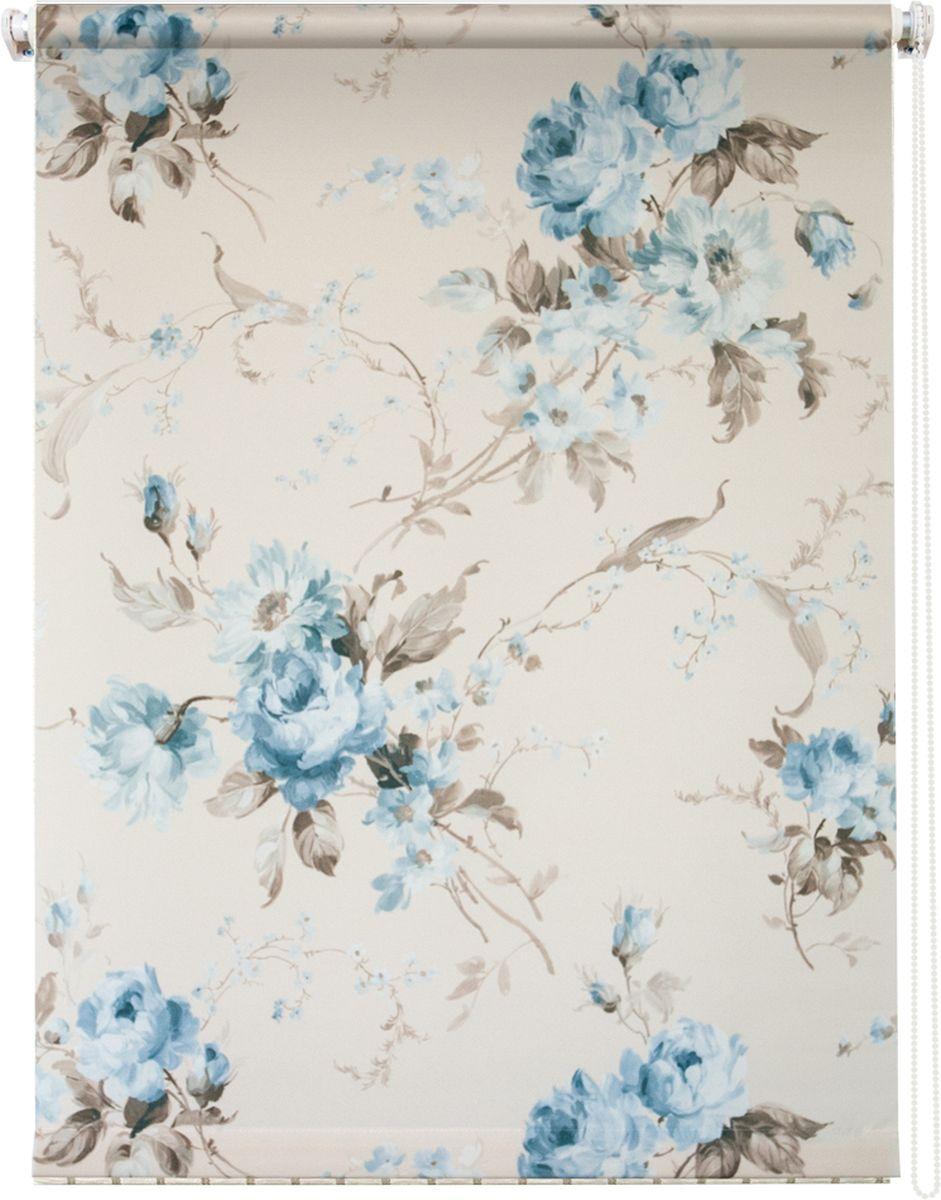 "Штора рулонная Уют ""Розарий"", цвет: белый, голубой, 140 х 175 см"