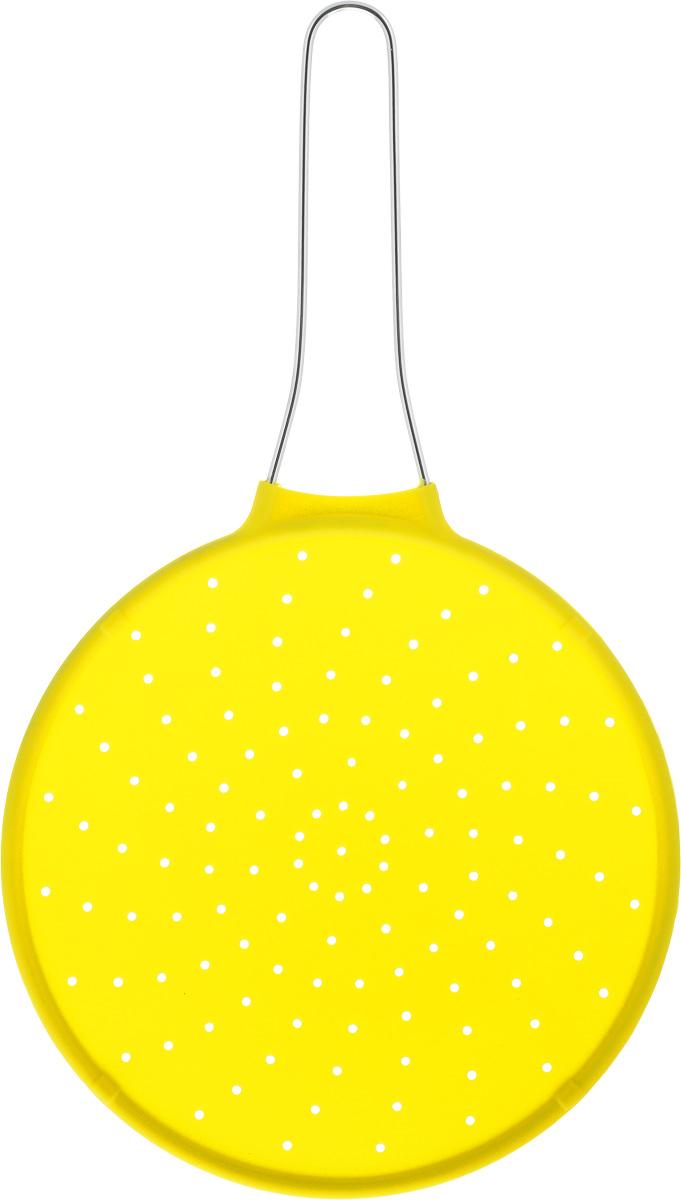 Экран от брызг Mayer & Boch, цвет: желтый, диаметр 24 см54 009312Экран от брызг Mayer & Boch изготовлен из экологически чистого материала - высококачественного силикона. Удобная ручка выполнена из металла. Выдерживает температурный диапазон от - 40 до +210°С. Просто положите экран сверху на посуду с готовящейся пищей, это предотвратит попадание брызг на поверхность плиты, одежду и кухонную мебель. Изделие легко моется и хранится. Простое и удобное использование. Диаметр: 24 см. Длина (с учетом ручки): 42 см.