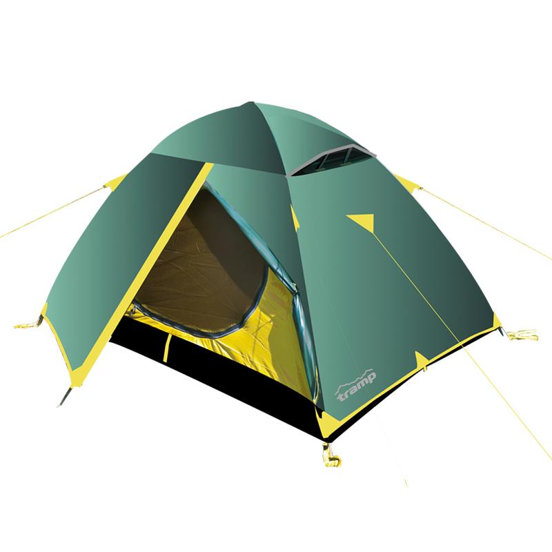 Палатка Тramp Scout 2, цвет: зеленыйTRT-001.04Двухслойная палатка Scout 2 оснащена двумя входами. Внешний тент палатки устойчив к ультрафиолетовому излучению и имеет пропитку, задерживающую распространение огня. Каркас выполнен из материала Durapol 8,5 мм. Два вентиляционных клапана. Все швы проклеены. Палатка идеальна для туристических походов в весеннее, летнее и осеннее время. Может пригодиться мотоциклистам и охотникам.Небольшой вес, современные материалы, прочность и поразительное удобство конструкций - все это отлично подойдет для каждого искателя приключений! Размер спального места: 150 х 210 см.Размер тамбура: 50 + 50 см.