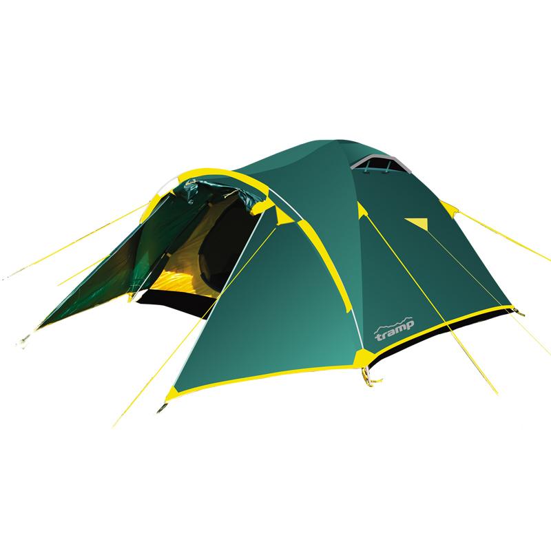 Палатка Тramp Lair 4, цвет: зеленыйTRT-007.04Двухслойная палатка Тramp Lair 4 оснащена двумя входами. Внешний тент палатки устойчив к ультрафиолетовому излучению и имеет пропитку, задерживающую распространение огня. Имеется большой вместительный тамбур и два вентиляционных клапана. Все швы проклеены. Каркас выполнен из материала Durapol 8,5 мм. Палатка идеальна для туристических походов в весеннее, летнее и осеннее время. Пригодится она также мотоциклистам и охотникам.Небольшой вес, современные материалы, прочность и поразительное удобство конструкции - все это отлично подойдет для каждого искателя приключений! Размер спального места: 210 х 240 см.Размер тамбура: 120 + 50 см
