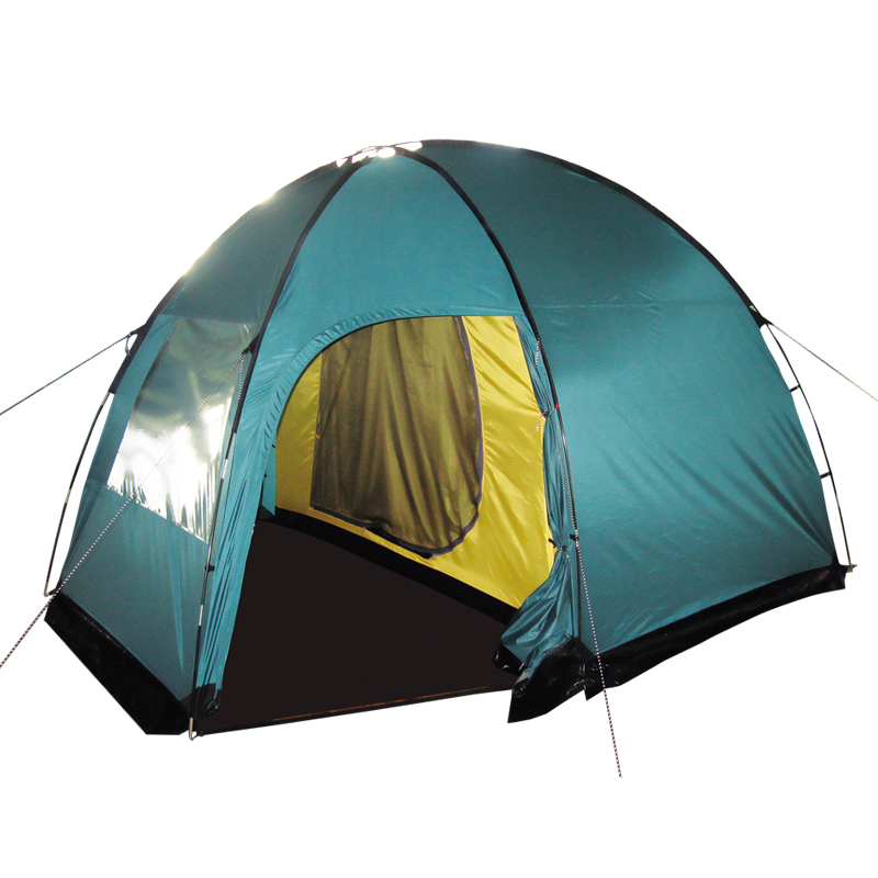 Палатка Тramp Bell 3, цвет: зеленыйAS009Двухслойная кемпинговая палатка Tramp Bell 3 оснащена с двумя входами и большим тамбуром. Внешний тент палатки устойчив к ультрафиолетовому излучению и имеет пропитку, задерживающую распространение огня. Вход спального отделения продублирован москитной сеткой. Во внешнем тенте вход в тамбур также продублирован москитной сеткой. Тент палатки оборудован юбкой. Имеется большое вентиляционное окно. Все швы проклеены. Съемный пол выполнен из материала терпаулинг. Каркас изготовлен из Durapol 11 мм.Размер спального места: 180 x 240 см.Размер тамбура: 220 x 130 см.