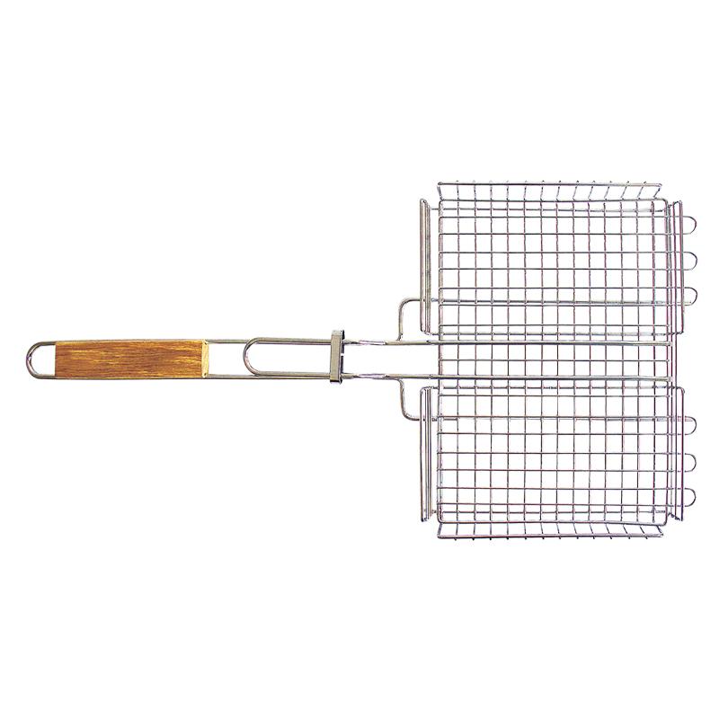 Решетка-гриль Totem глубокая. TTB-004Хот ШейперсРешетка-гриль глубокая Totem Особенности: Предназначена для запекания мяса, птицы, рыбы, овощей. Высококачественная пищевая сталь с хромированным покрытием. Удобные деревянные ручки. Специальная конструкция позволяет задействовать максимальную площадь поверхности решетки для приготовления пищи. Глубокая форма решетки не позволяет упасть ни одному кусочку. Размер: 30 х 24 х 4 ммДлина: 62 смУдлиненные усики: 5 смСталь, хромированное покрытие, дерево