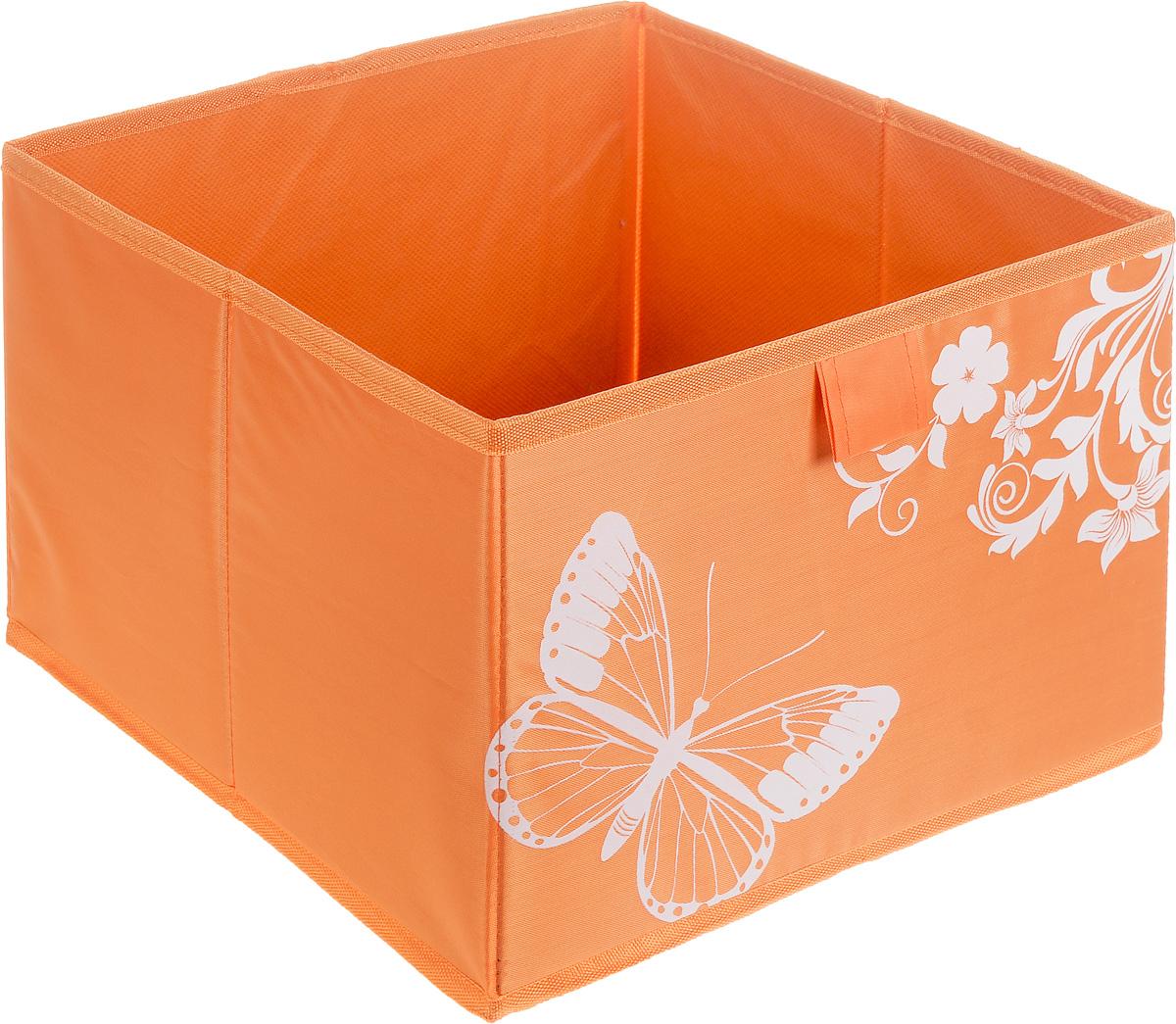 Коробка для хранения Hausmann Butterfly, цвет: оранжевый, 28 х 27 х 20 см1004900000360Коробка для хранения Hausmann Butterfly поможет легко организовать пространство в шкафу или в гардеробе. Изделие выполнено из нетканого материала и полиэстера. Коробка держит форму благодаря жесткой вставке из картона, которая устанавливается на дно. Боковая поверхность оформлена красивым принтом с изображением бабочек. В такой коробке удобно хранить нижнее белье, ремни и различные аксессуары.